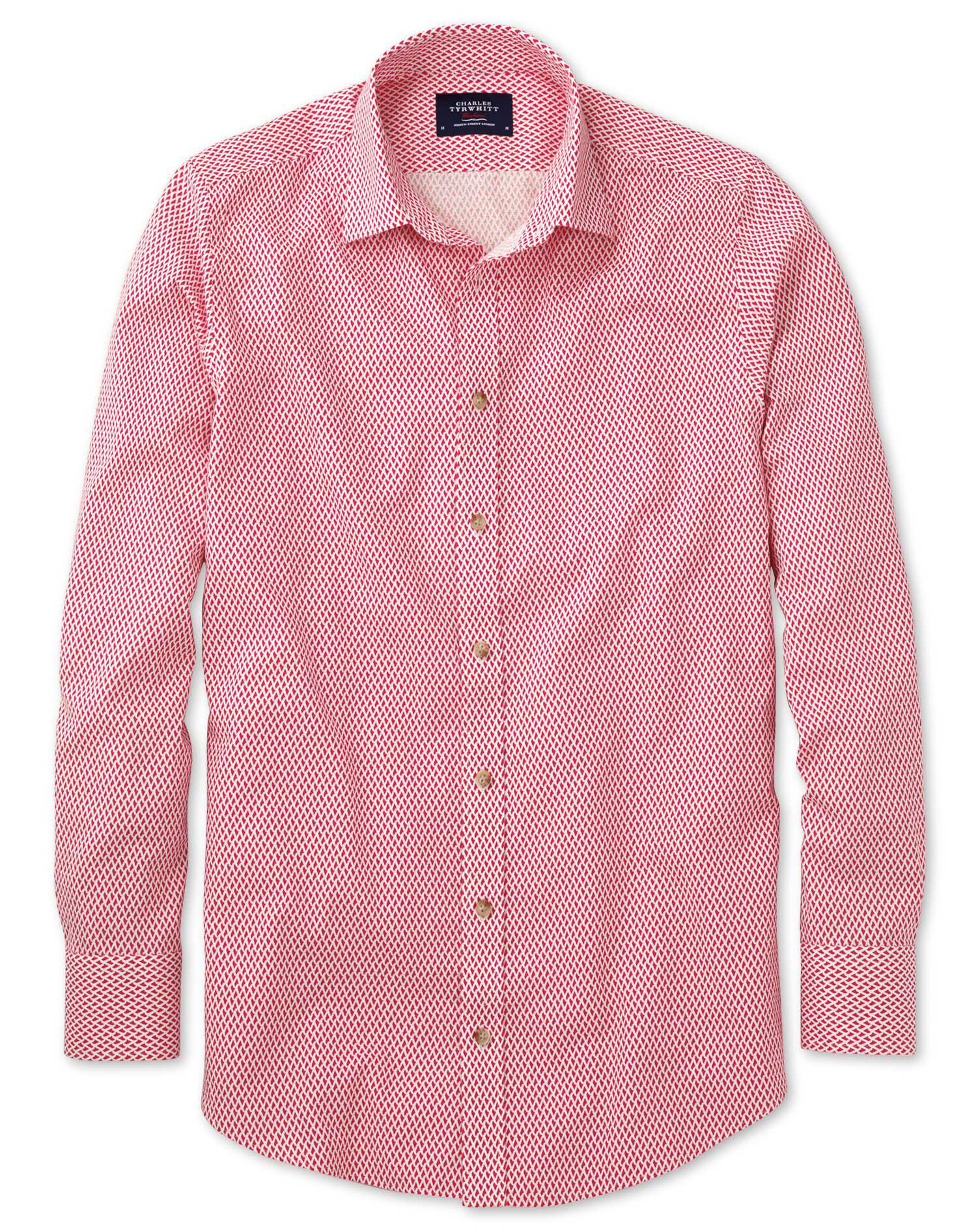 Classic Fit Coral and White Print Shirt Single Cuff Size Medium by Charles Tyrwhitt
