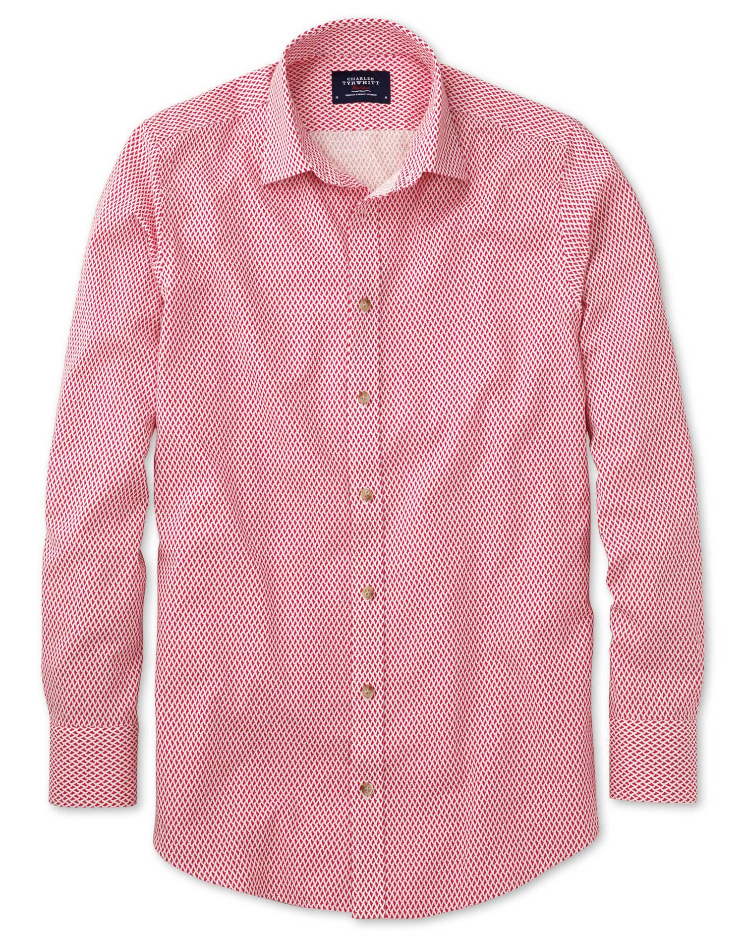 Slim Fit Coral and White Print Shirt Single Cuff Size Medium by Charles Tyrwhitt