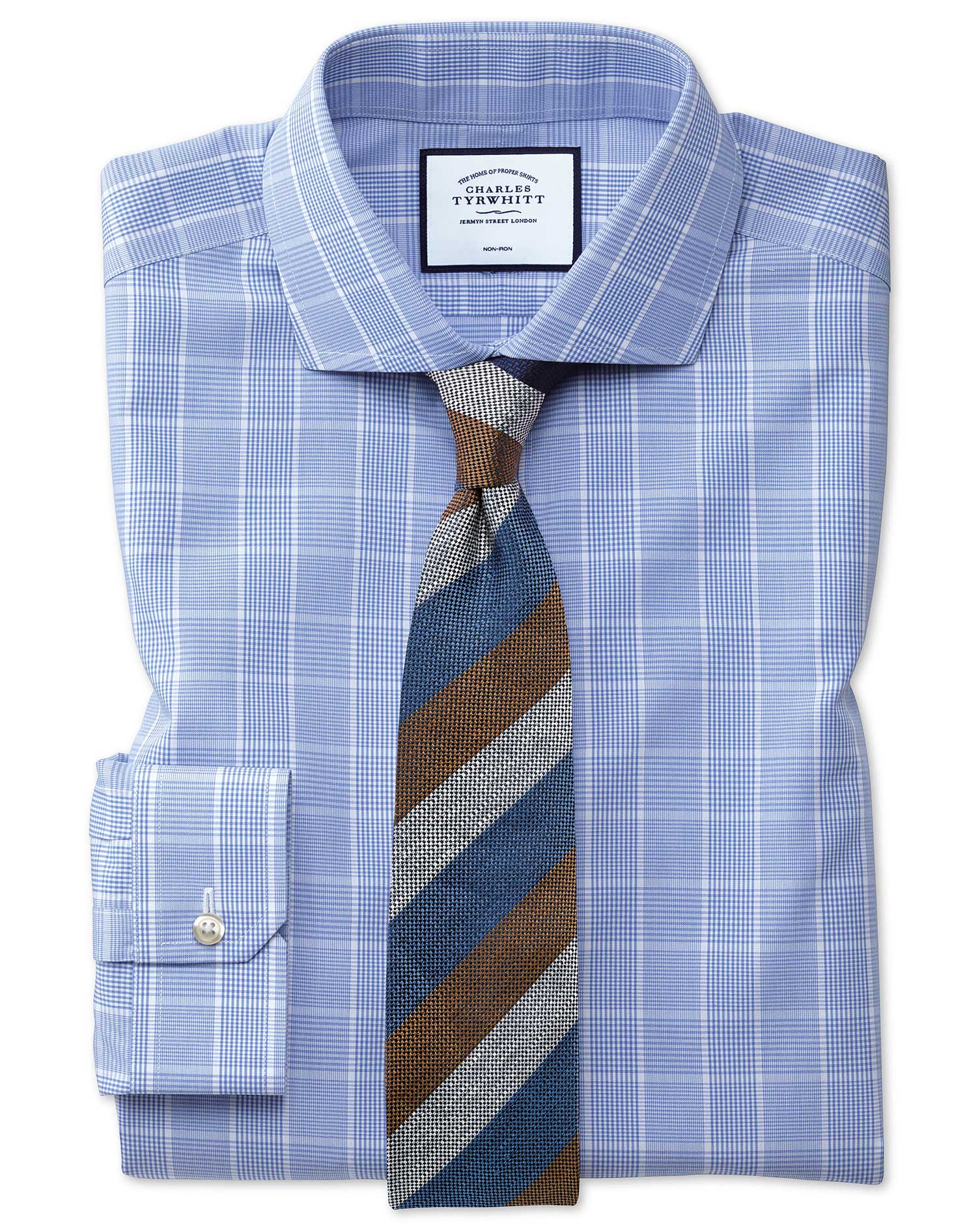Super Slim Fit Cutaway Non-Iron Prince Of Wales Mid Blue Cotton Formal Shirt Single Cuff Size 16.5/3