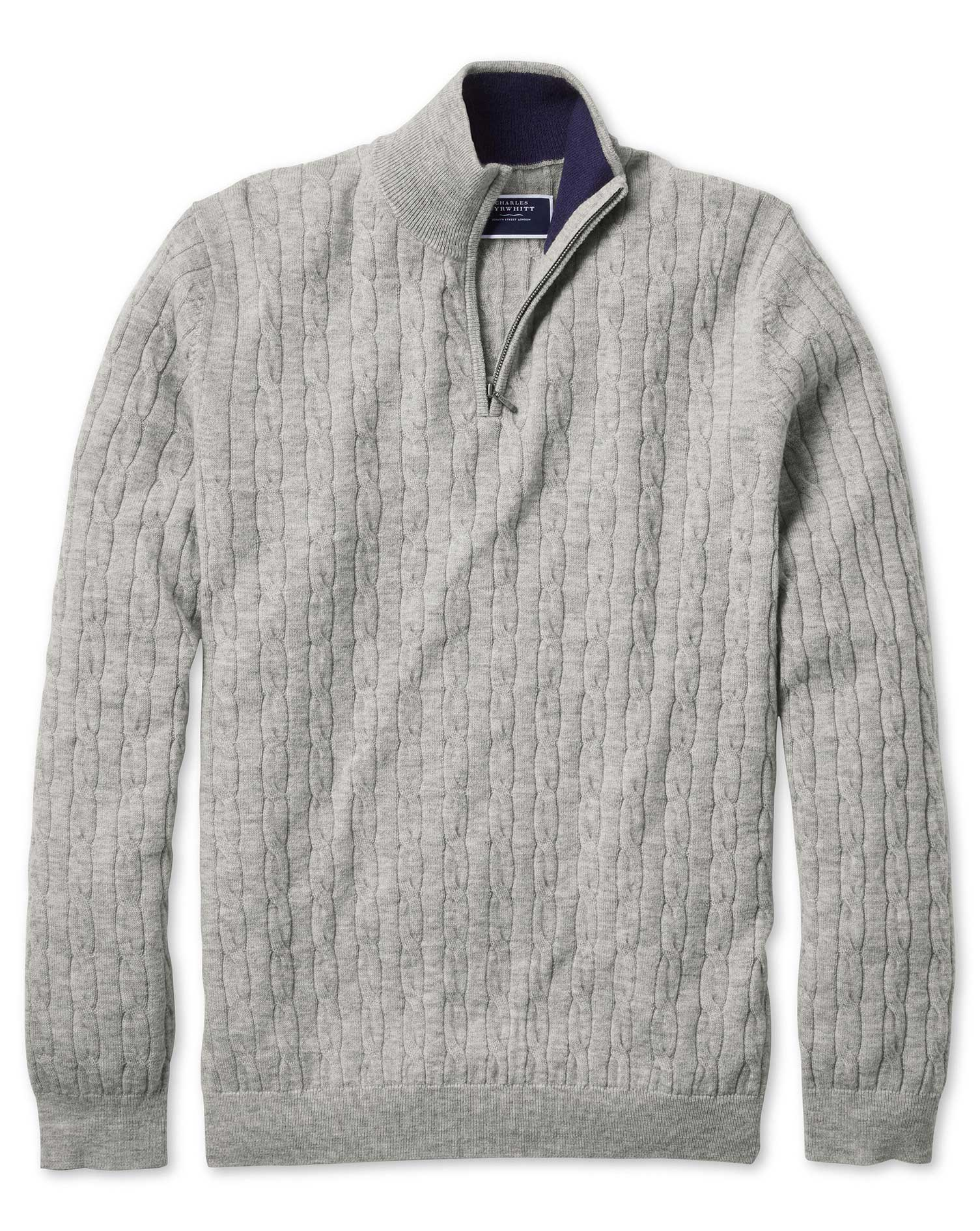 Light Grey Zip Neck Lambswool Cable Knit Jumper Size Large by Charles Tyrwhitt