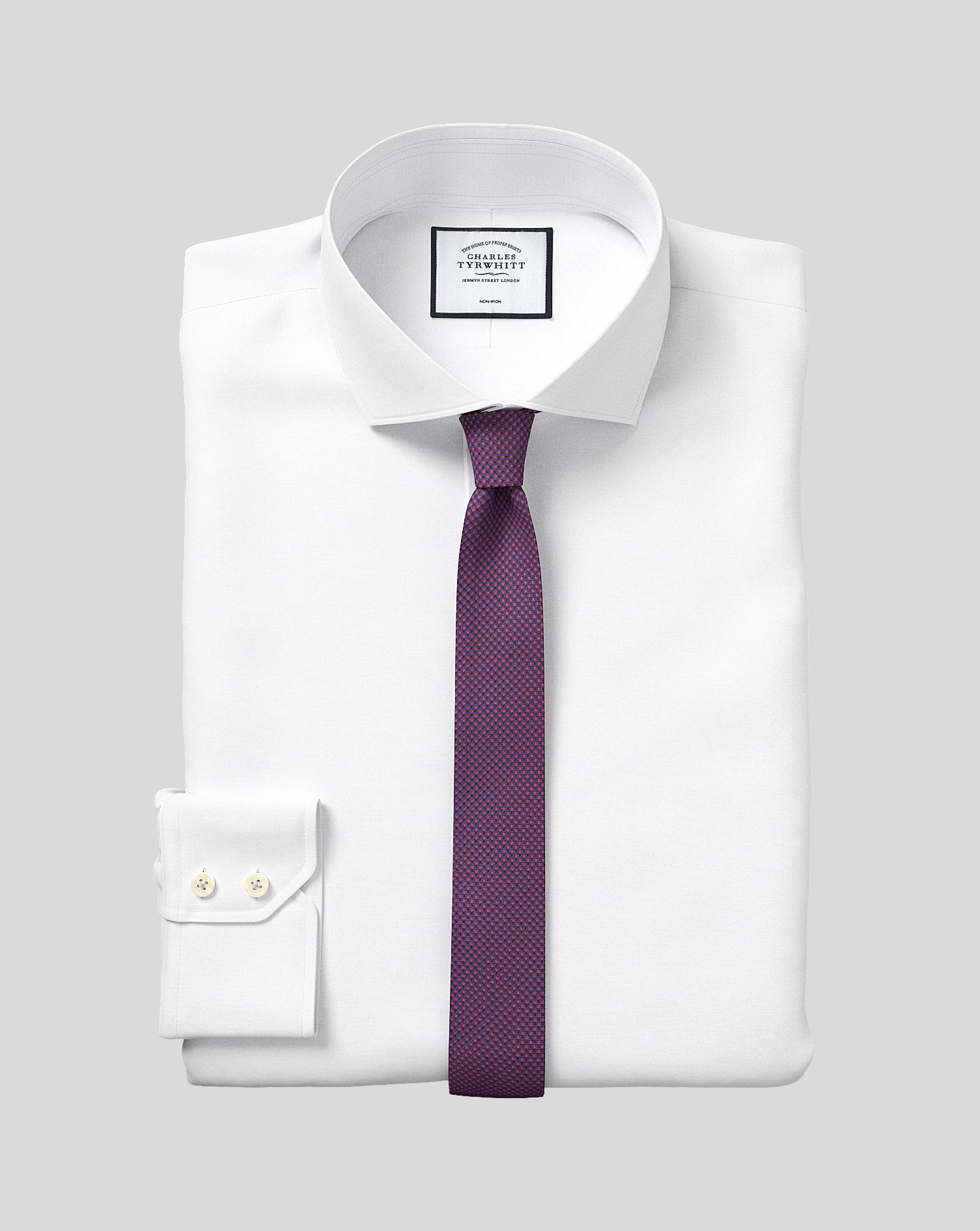 Cotton Slim Fit Non-Iron 4-Way Stretch White Shirt