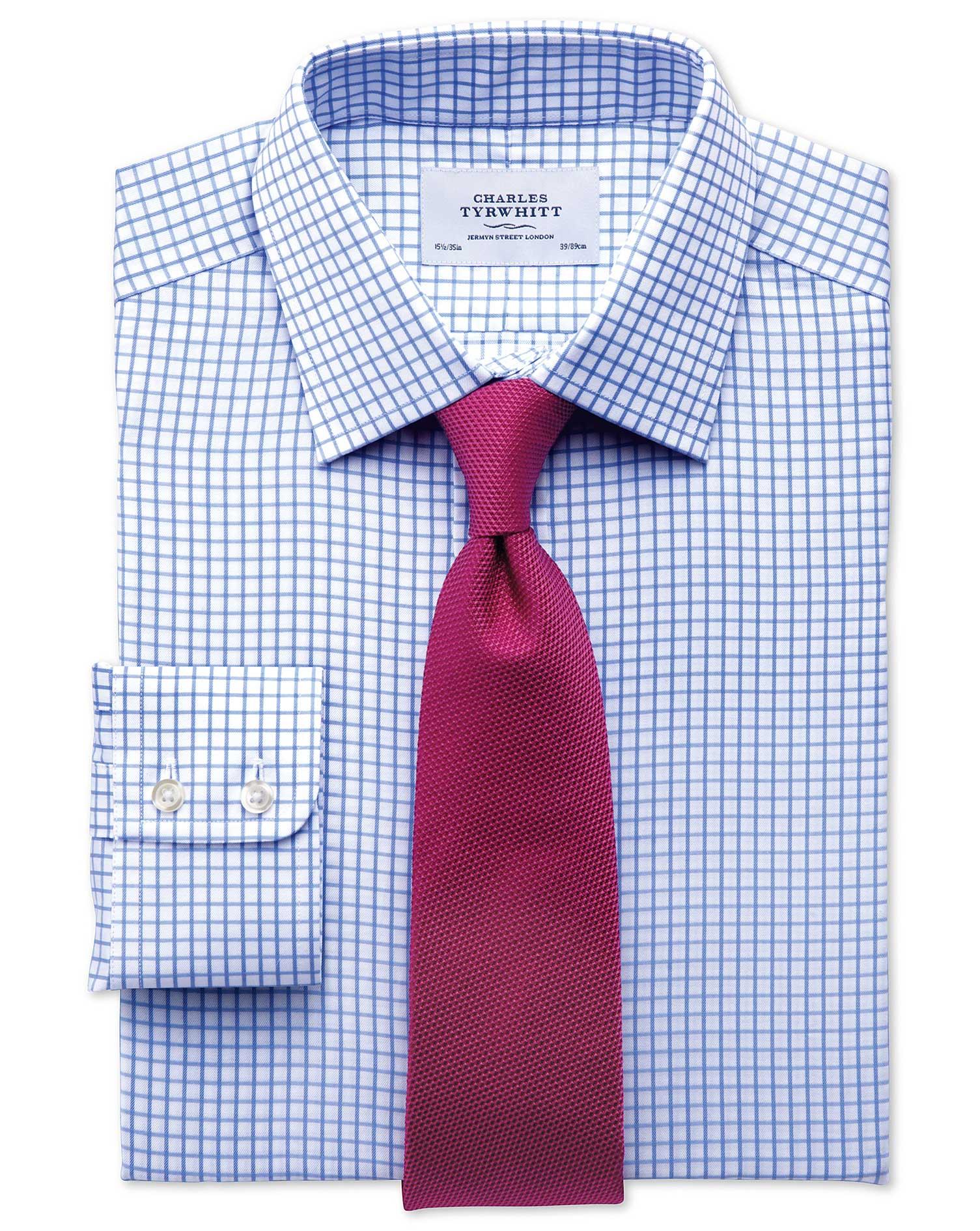 Slim Fit Twill Grid Check Sky Blue Shirt Charles Tyrwhitt