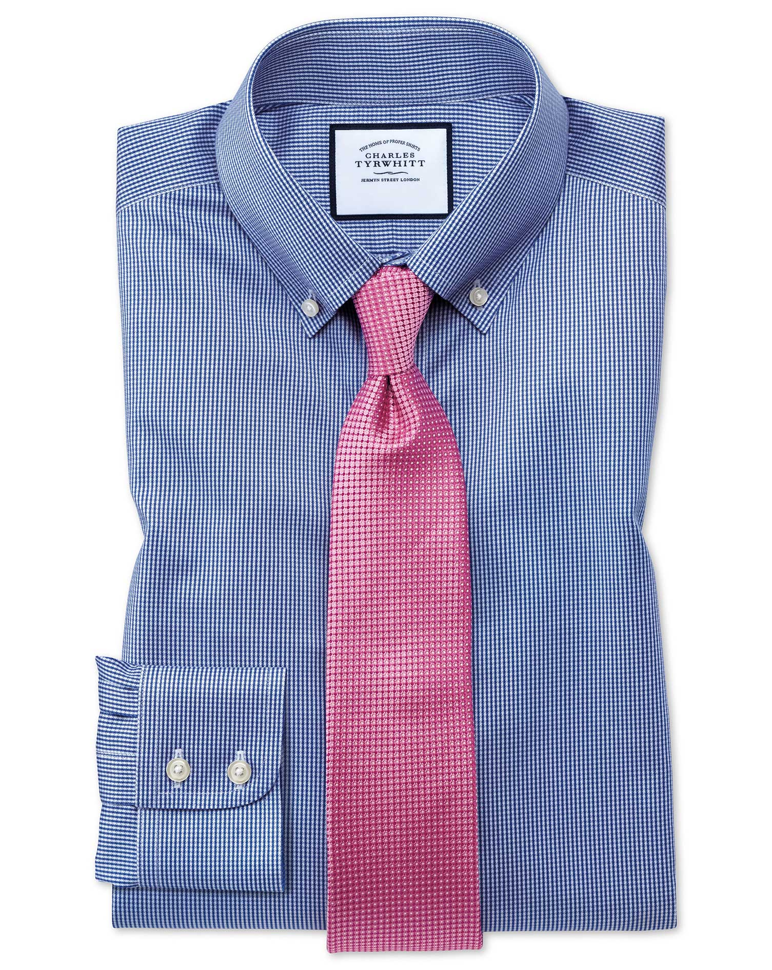 Slim Fit Button-Down Non-Iron Twill Puppytooth Royal Blue Cotton Formal Shirt Single Cuff Size 14.5/