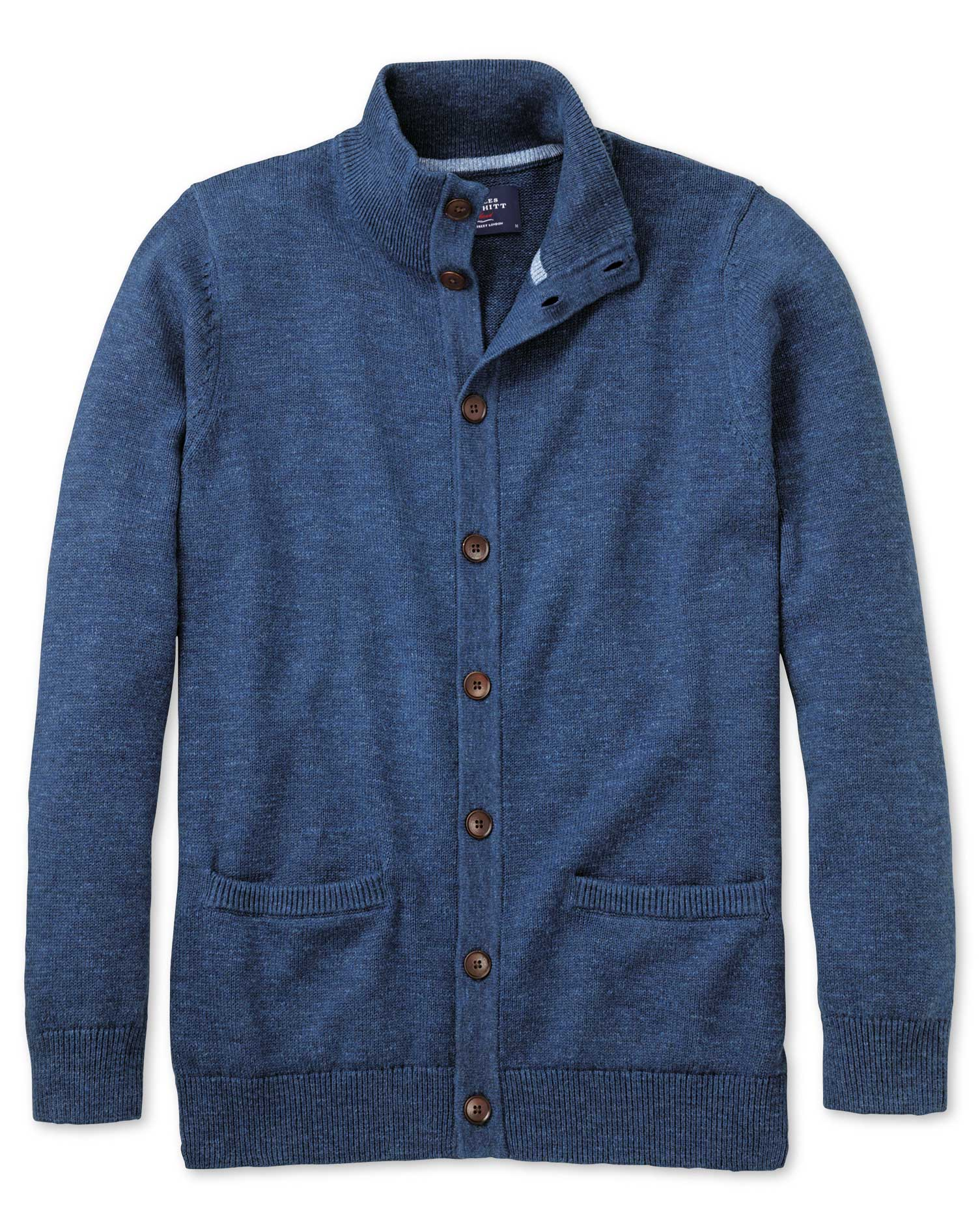 Blue Heather Button Through Cotton Cardigan Size Large by Charles Tyrwhitt