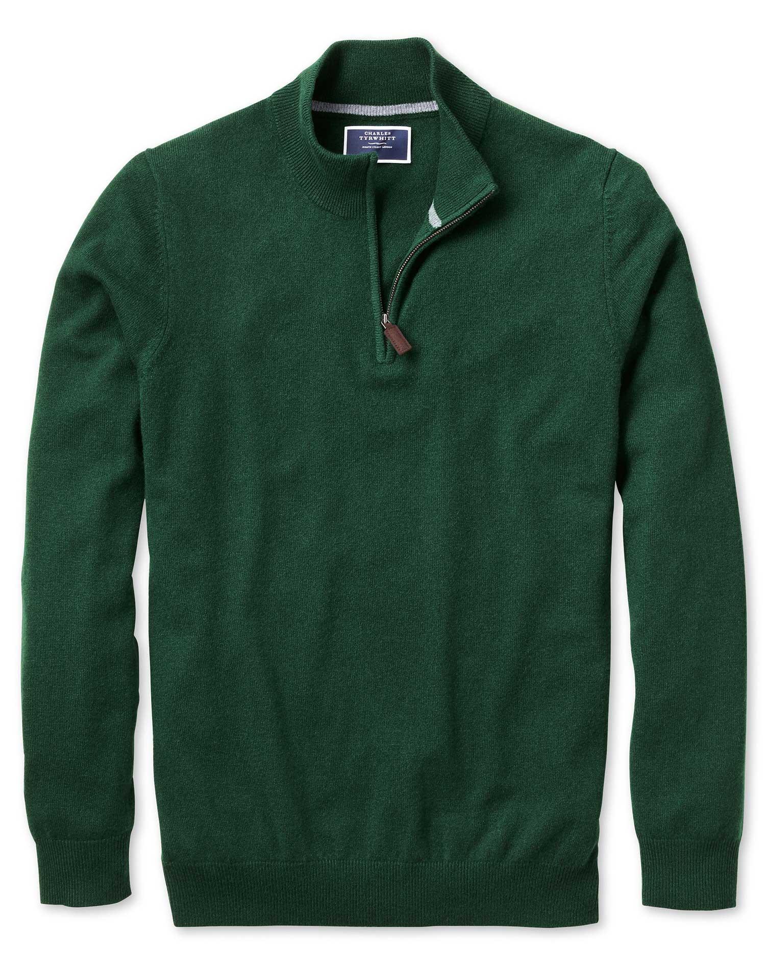 Green Zip Neck Cashmere Jumper Size XXL by Charles Tyrwhitt