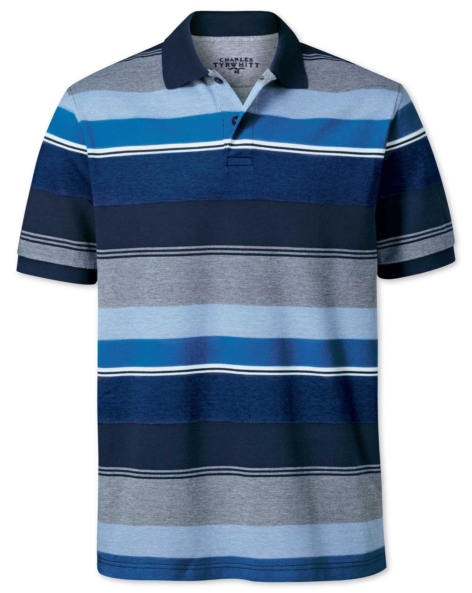 Blue Multi Stripe Oxford Pique Cotton Polo Size Medium by Charles Tyrwhitt