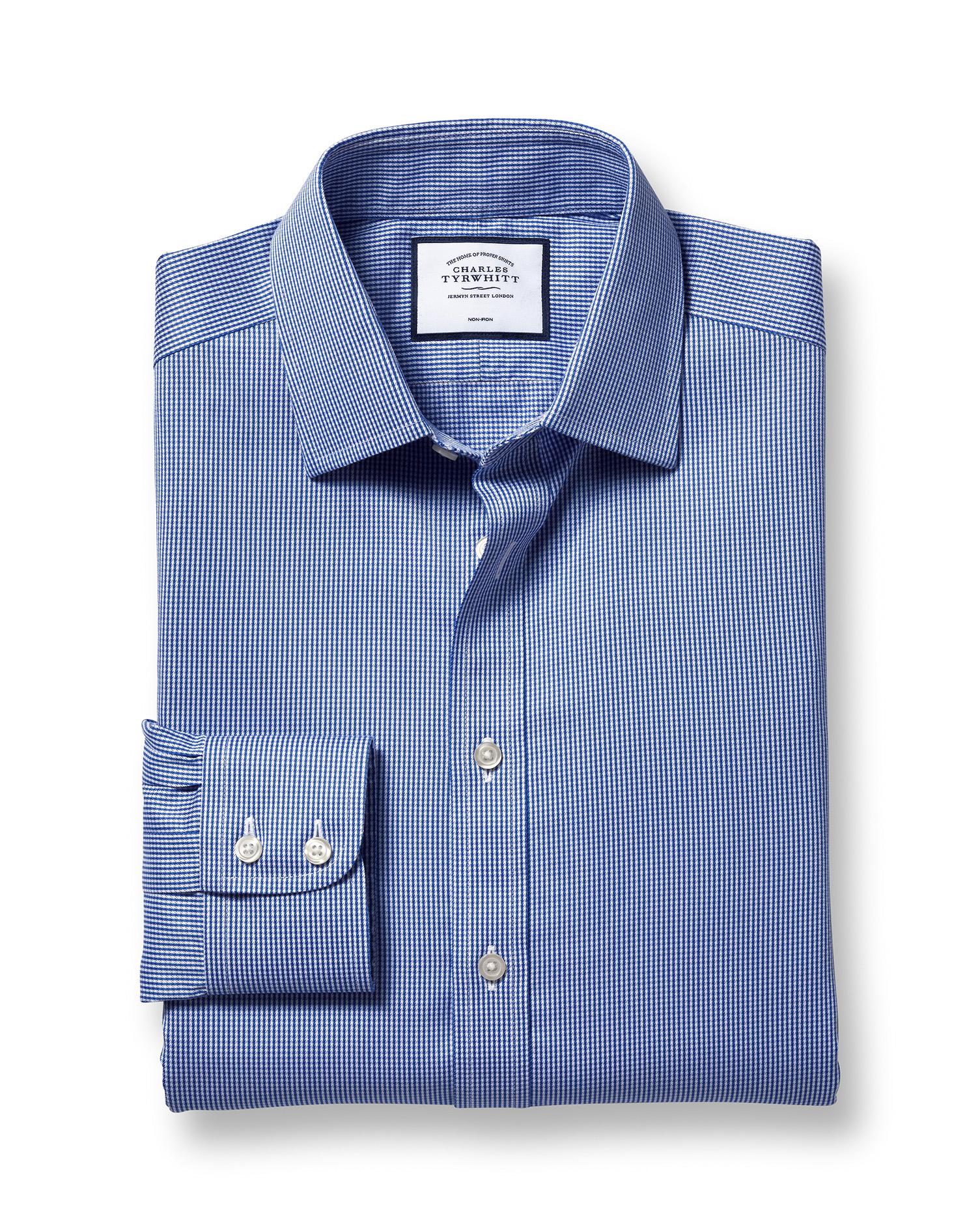 Slim fit non iron puppytooth royal blue shirt charles for Slim fit non iron shirts