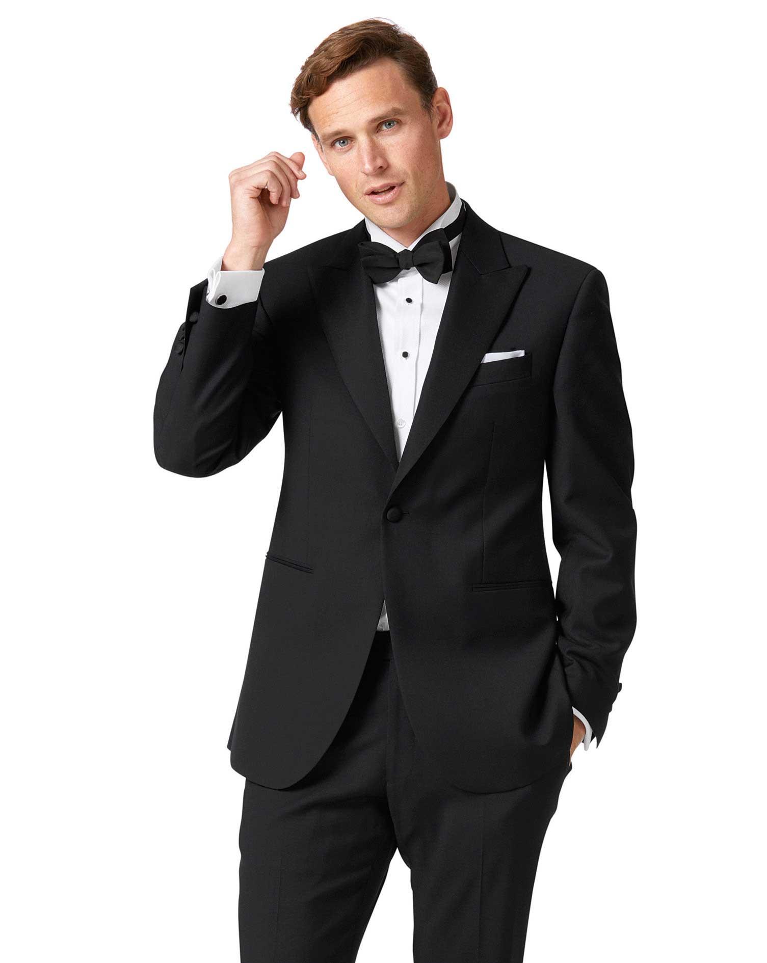 Black Classic Fit Peak Lapel Tuxedo Wool Jacket Size 48 Long by Charles Tyrwhitt