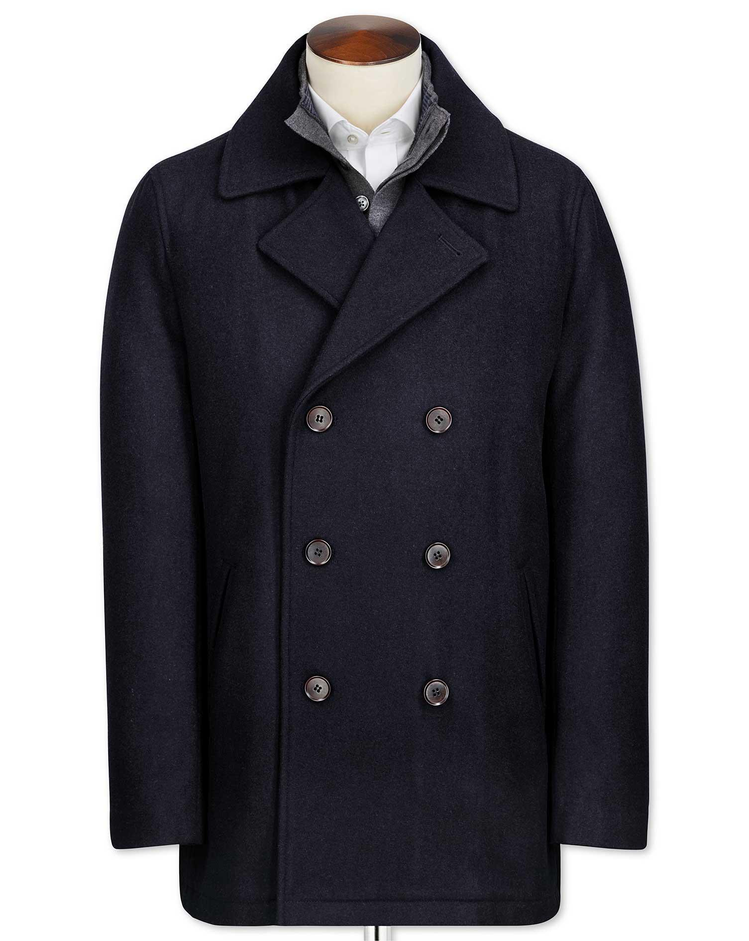 Navy Wool Pea Wool Coat Size 36 Regular by Charles Tyrwhitt
