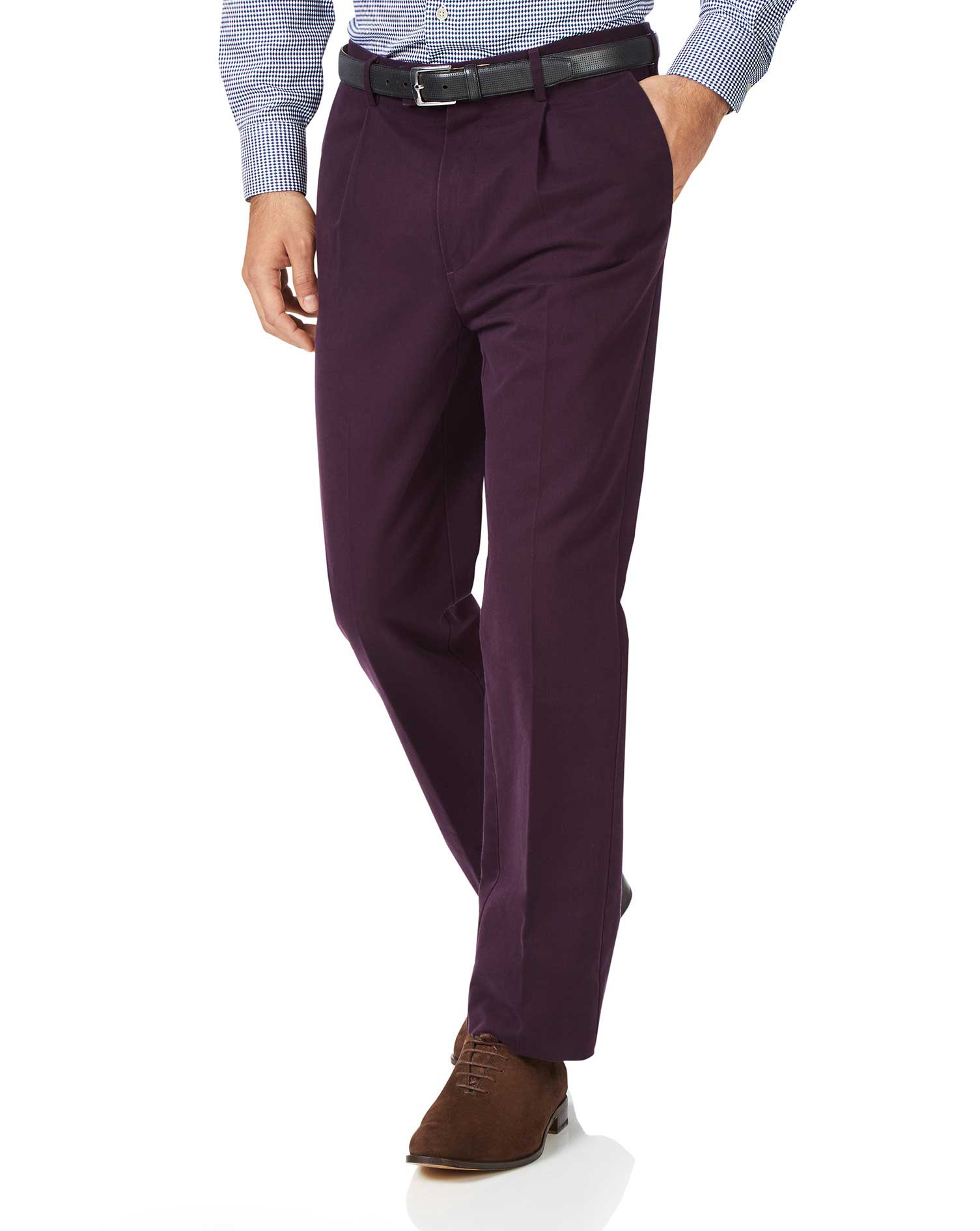 wine classic fit single pleat non-iron cotton chino pants size w44 l38 by charles tyrwhitt