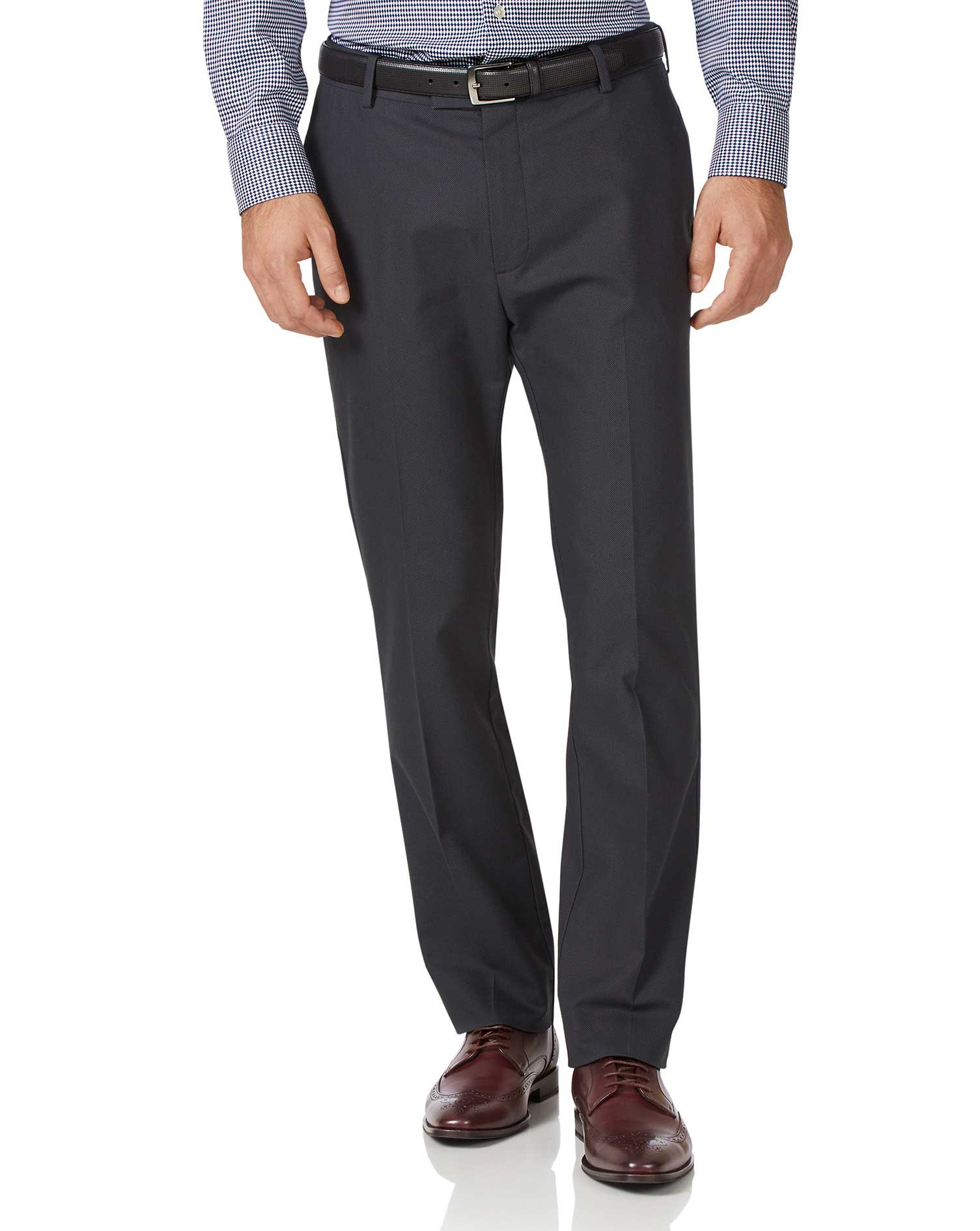 Charcoal Classic Fit Stretch Non-Iron Trousers Size W42 L34 by Charles Tyrwhitt