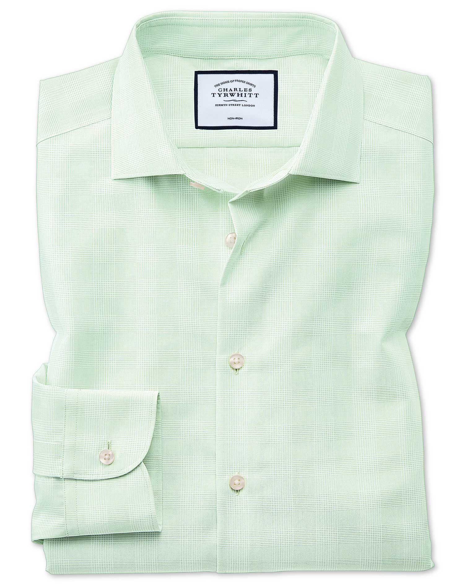 Slim Fit Business Casual Non-Iron Green Check Cotton Formal Shirt Single Cuff Size 17.5/36 by Charle