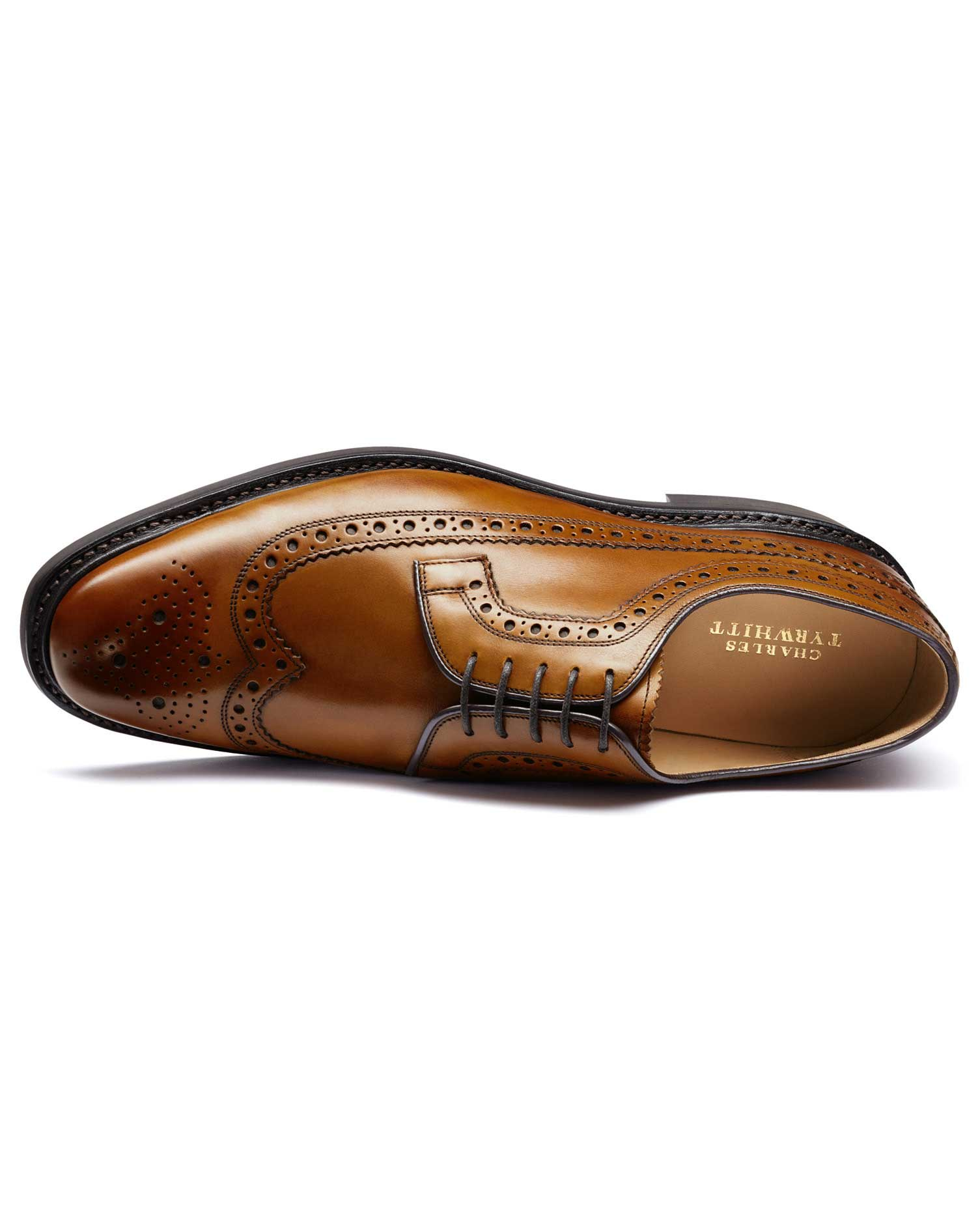 Tan Goodyear Welted Derby Brogue Shoe Size 9 W by Charles Tyrwhitt