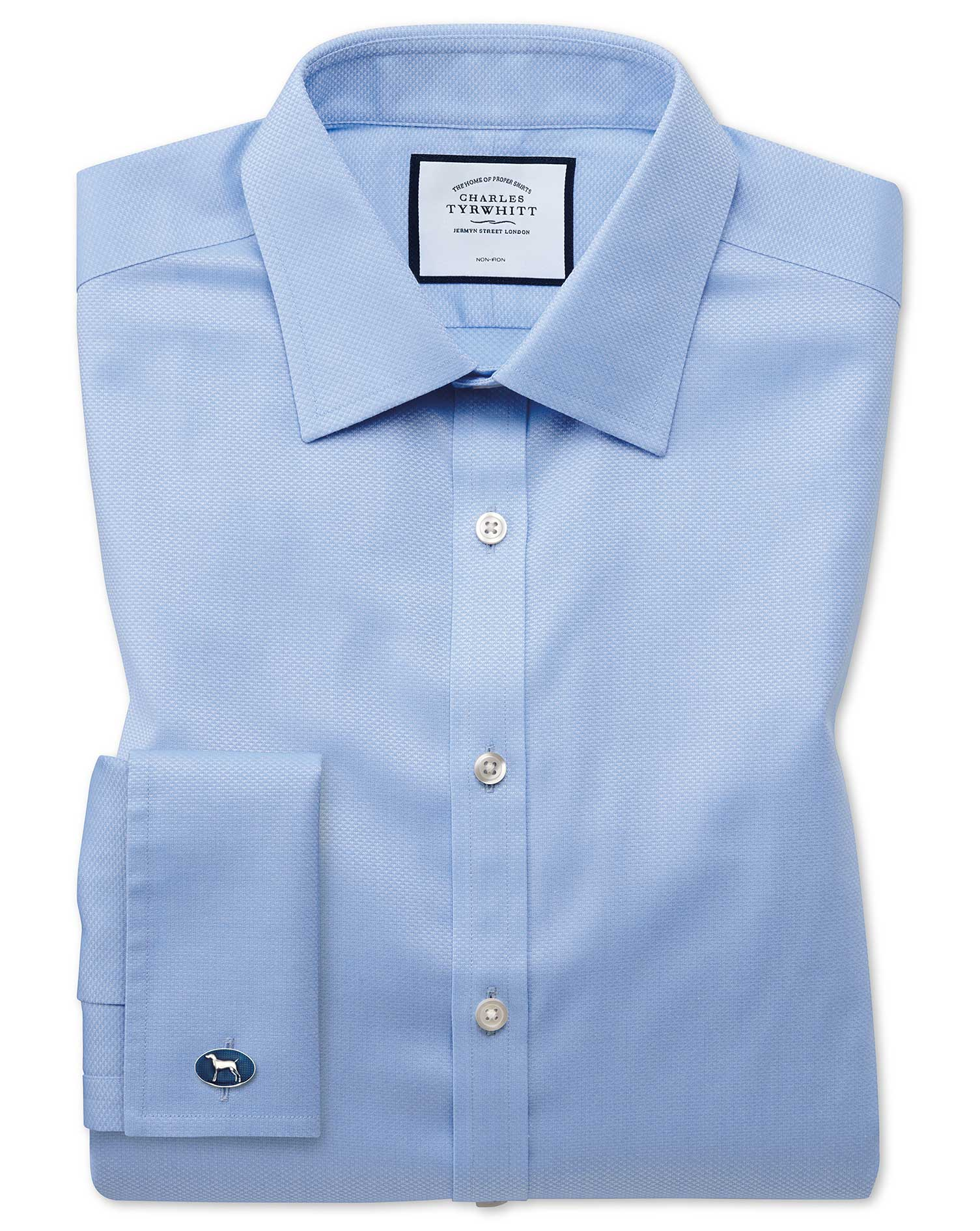 Super Slim Fit Non-Iron Sky Blue Triangle Weave Cotton Formal Shirt Double Cuff Size 16/35 by Charle