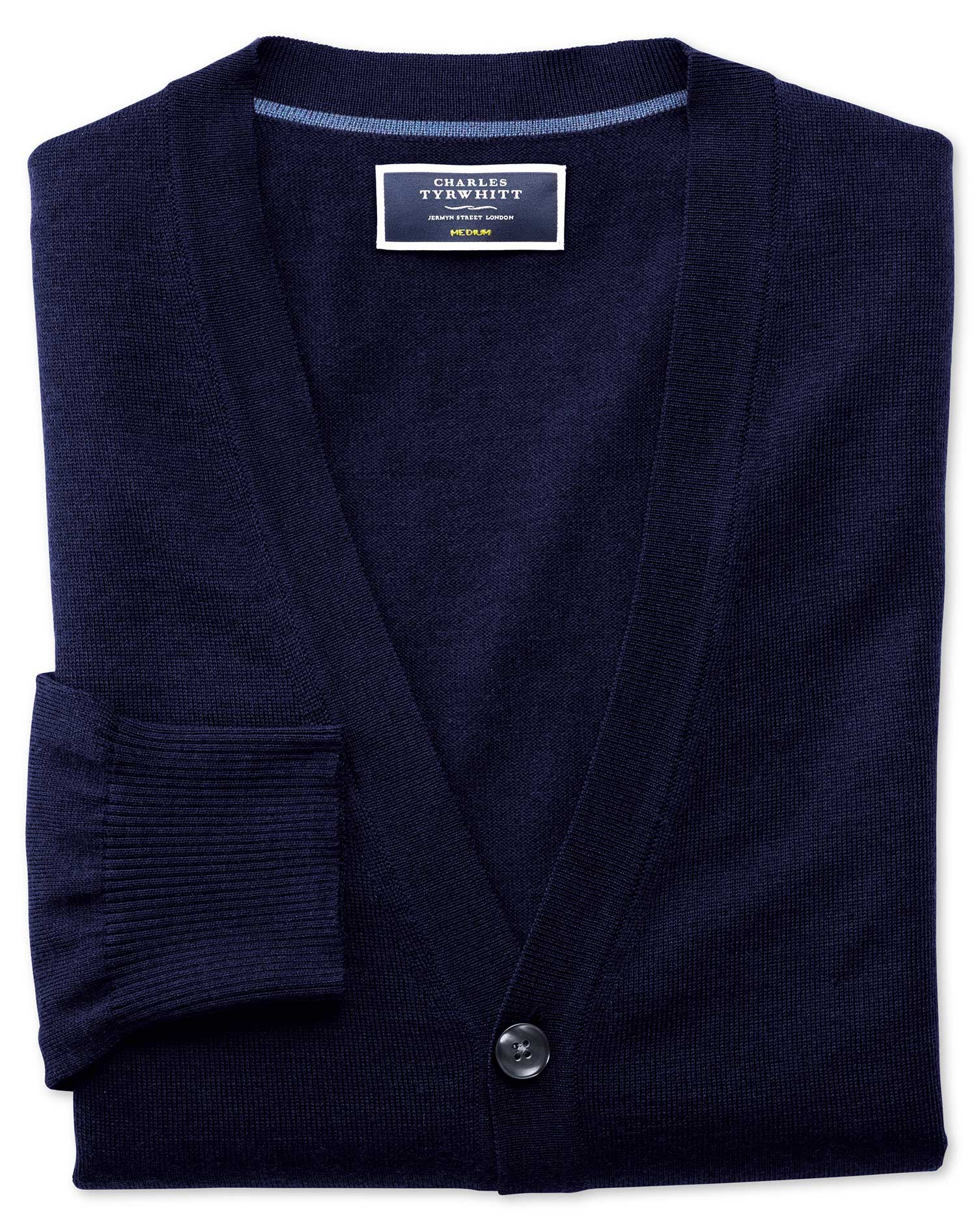 Navy Merino Wool Cardigan Size Medium by Charles Tyrwhitt