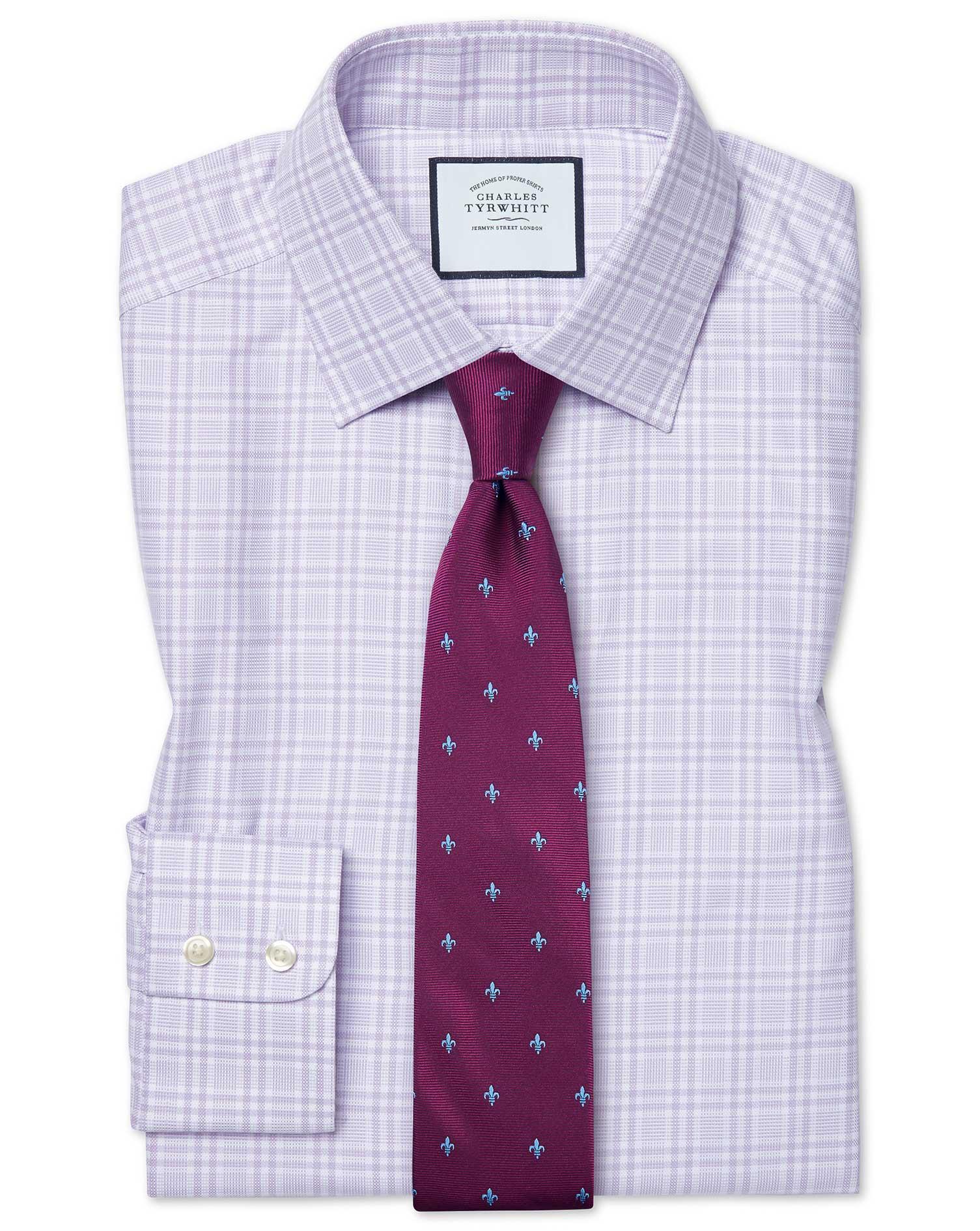 Cotton Slim Fit Brushed-Back Basketweave Lilac Check Shirt