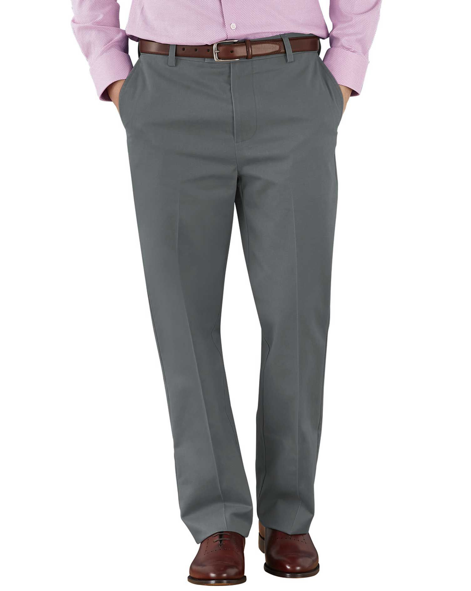Grey Classic Fit Flat Front Non-Iron Cotton Chino Trousers Size W34 L34 by Charles Tyrwhitt