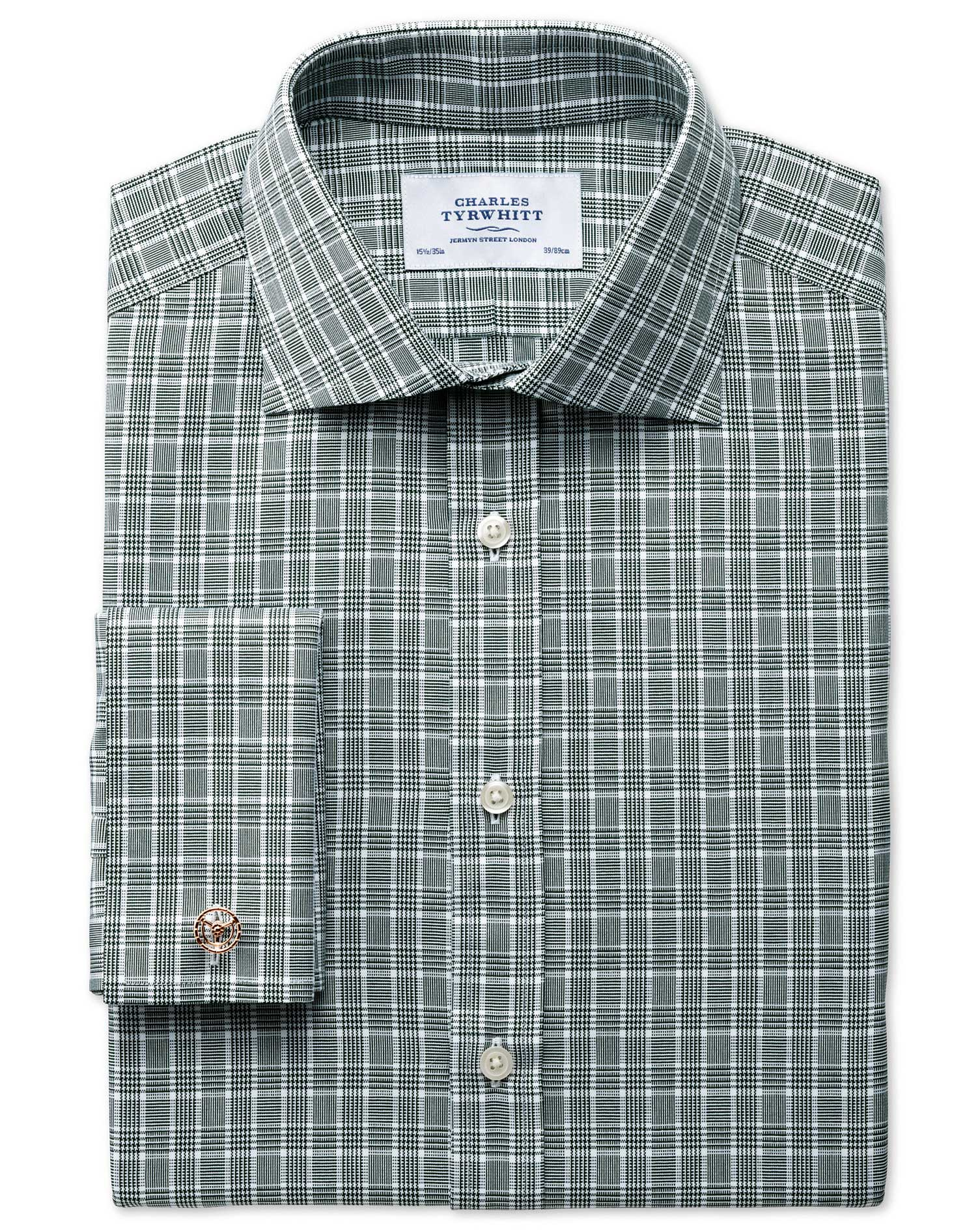Extra Slim Fit Prince Of Wales Basketweave Green Cotton Formal Shirt Double Cuff Size 15.5/35 by Cha