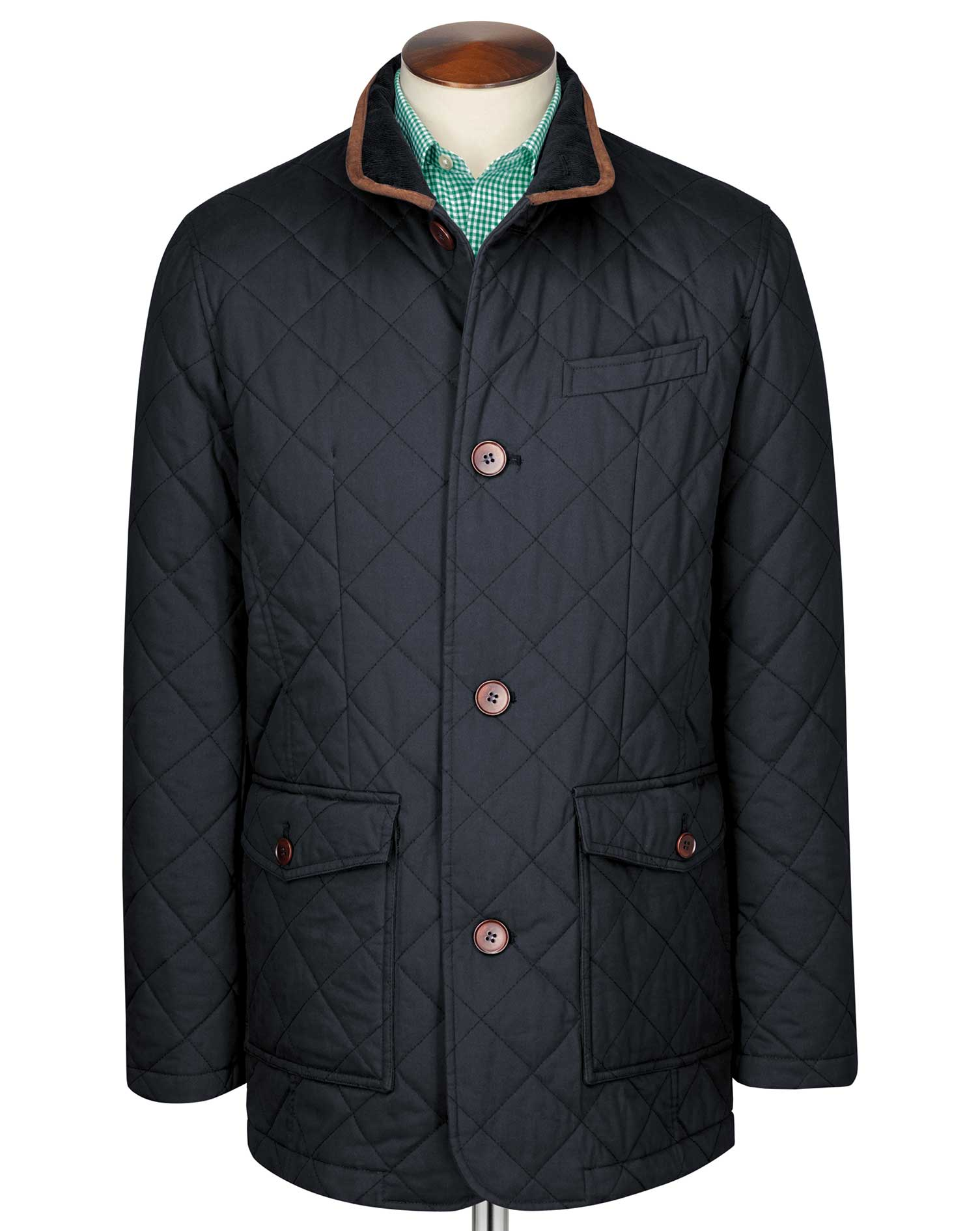 Navy Quilted Cotton Jacket Size 36 Regular by Charles Tyrwhitt