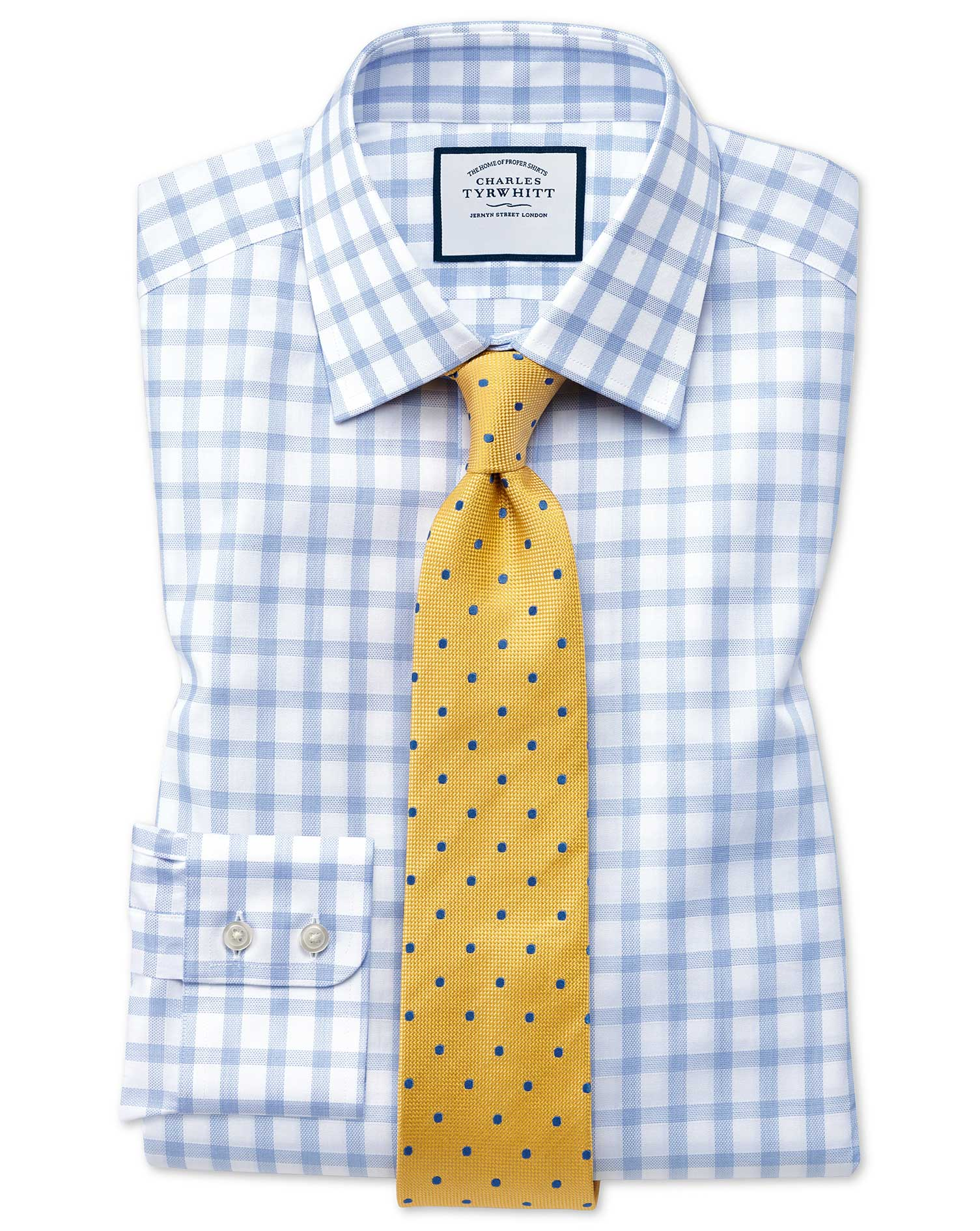 Slim Fit Windowpane Check Sky Blue Cotton Formal Shirt Single Cuff Size 16/35 by Charles Tyrwhitt