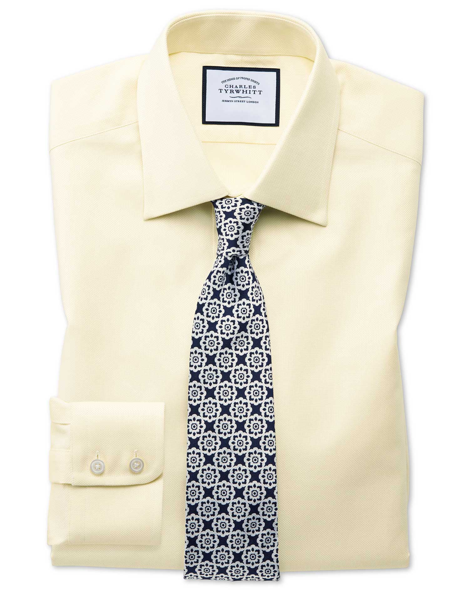 Classic Fit Egyptian Cotton Royal Oxford Yellow Formal Shirt Single Cuff Size 16.5/36 by Charles Tyr
