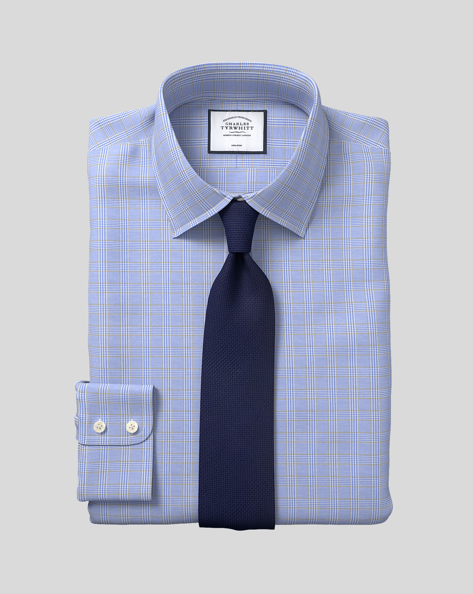 Classic Fit Non-Iron Blue and Gold Prince Of Wales Check Cotton Formal Shirt Single Cuff Size 16/38