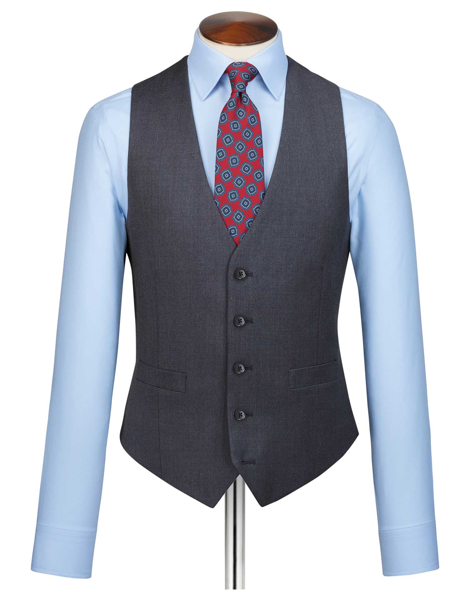 Steel Blue Adjustable Fit Twill Business Suit Wool Waistcoat Size w36 by Charles Tyrwhitt