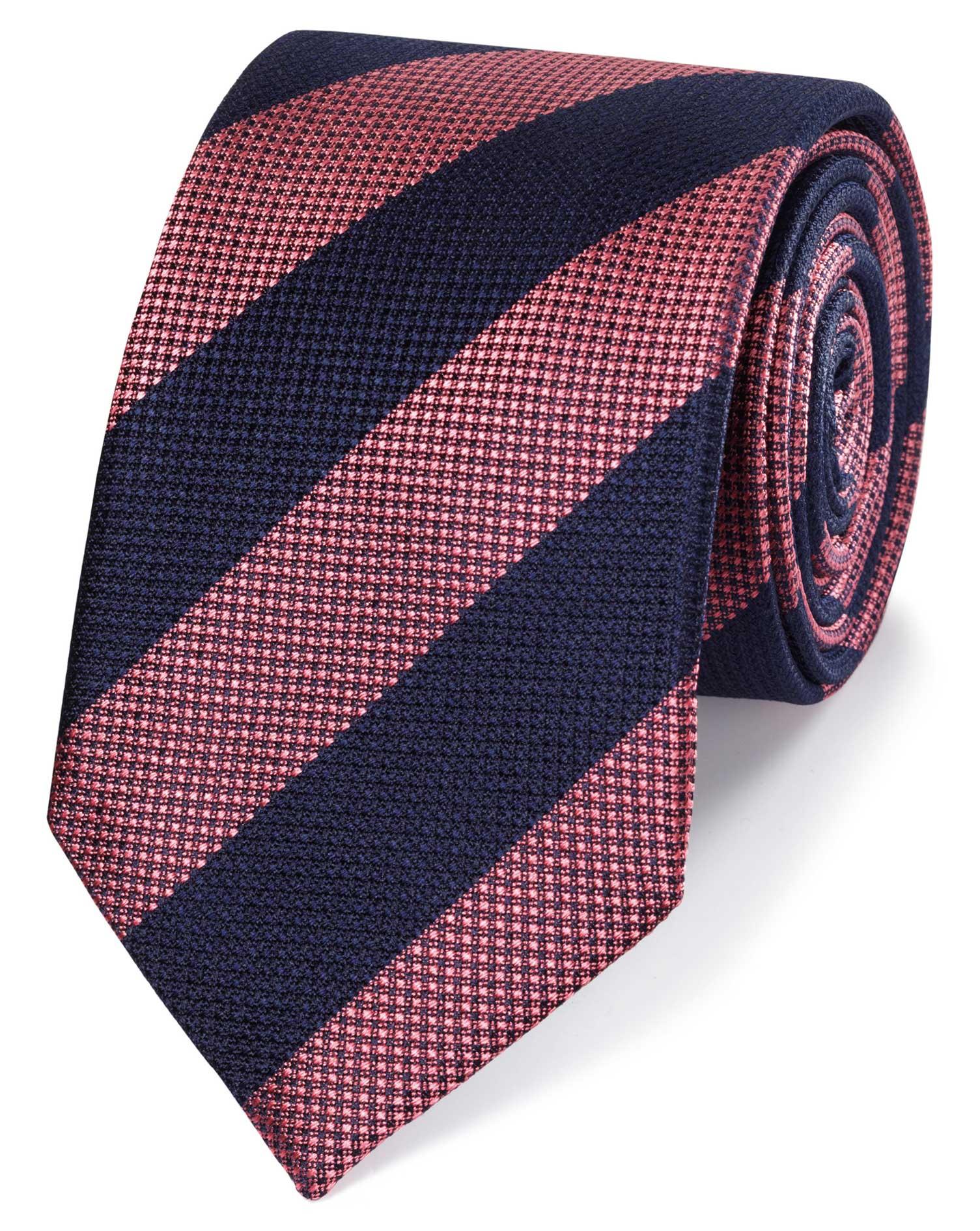 Pink and Blue Club Stripe Silk Classic Tie Size OSFA by Charles Tyrwhitt