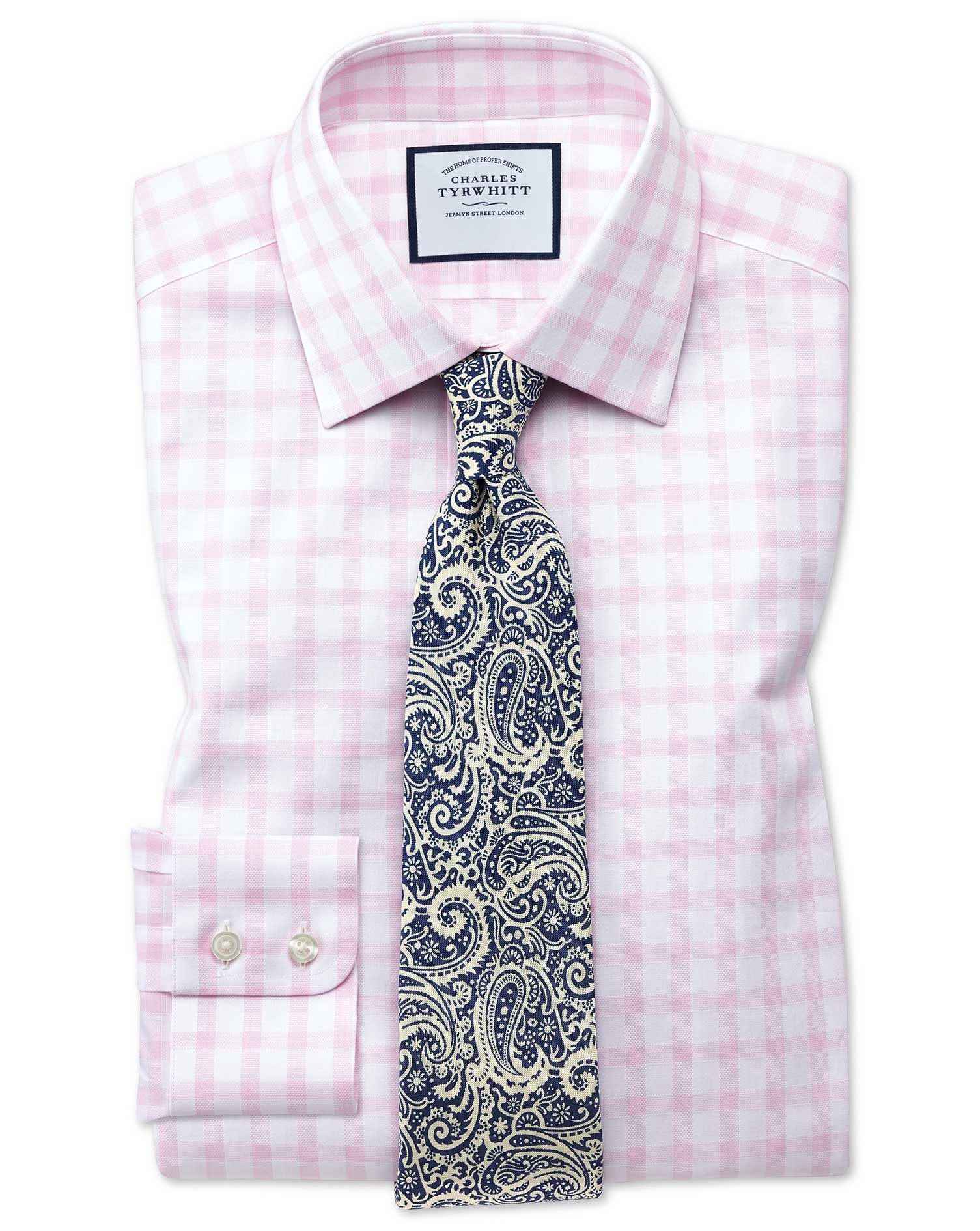 Extra Slim Fit Windowpane Check Pink Cotton Formal Shirt Single Cuff Size 15/35 by Charles Tyrwhitt