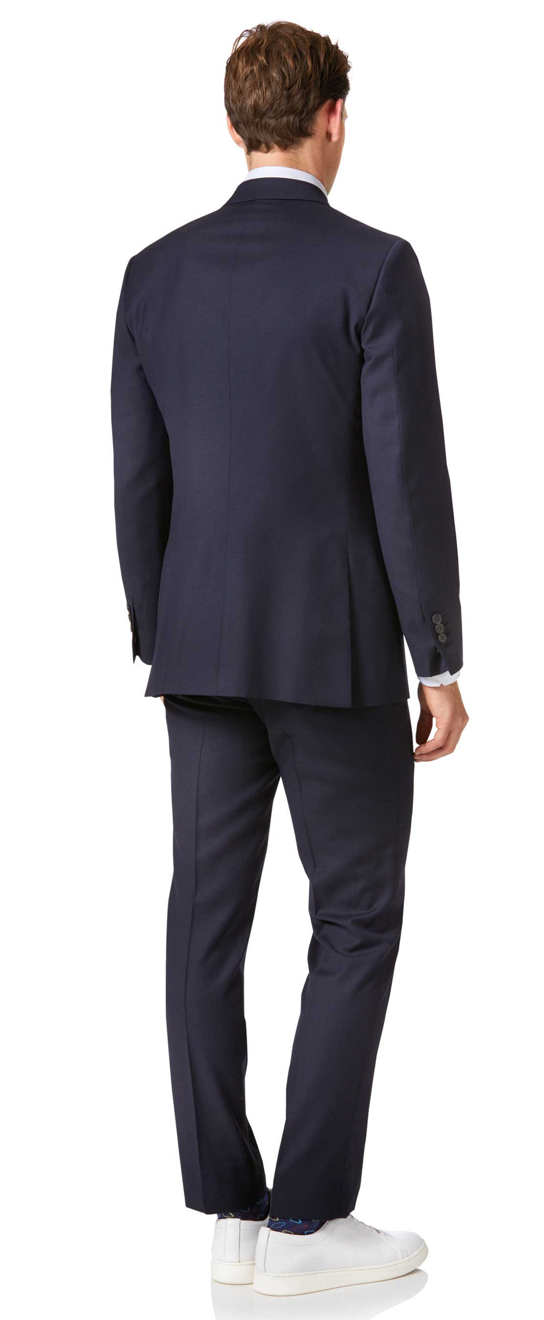Navy slim fit double breasted twill business suit jacket