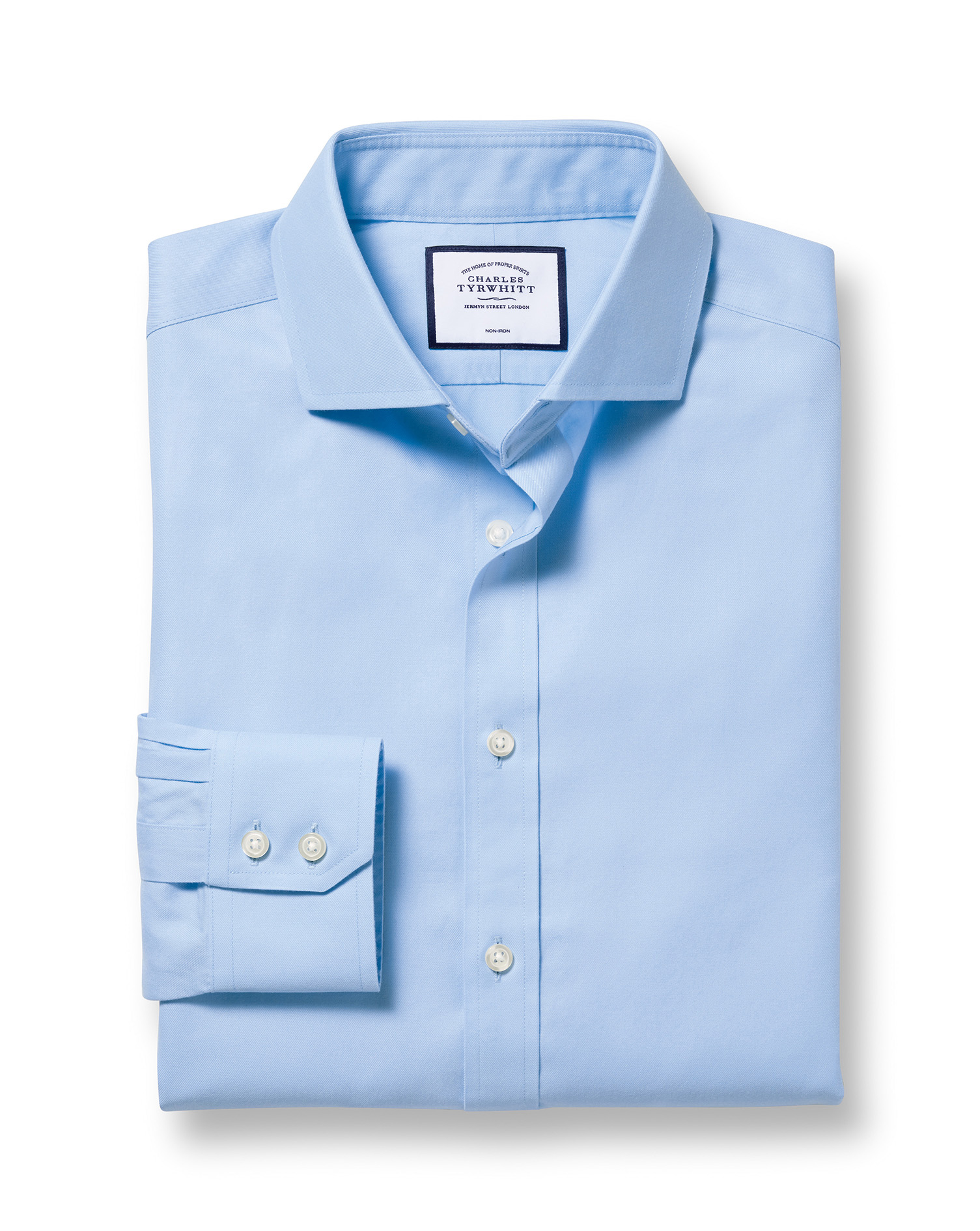 Slim Fit Cutaway Non-Iron Twill Sky Blue Cotton Formal Shirt Single Cuff Size 17.5/34 by Charles Tyr