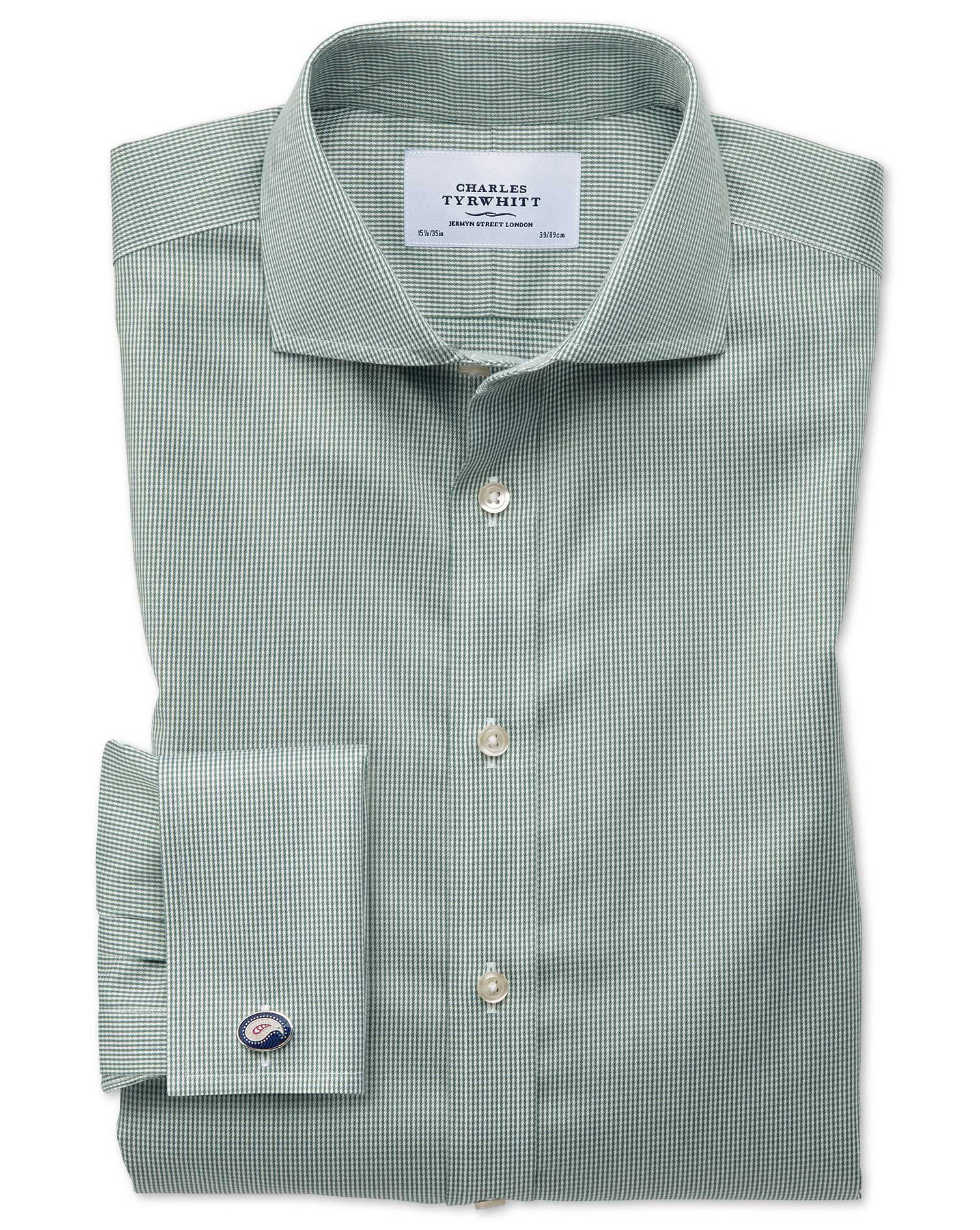 Extra Slim Fit Cutaway Non-Iron Puppytooth Olive Cotton Formal Shirt Double Cuff Size 16/35 by Charl