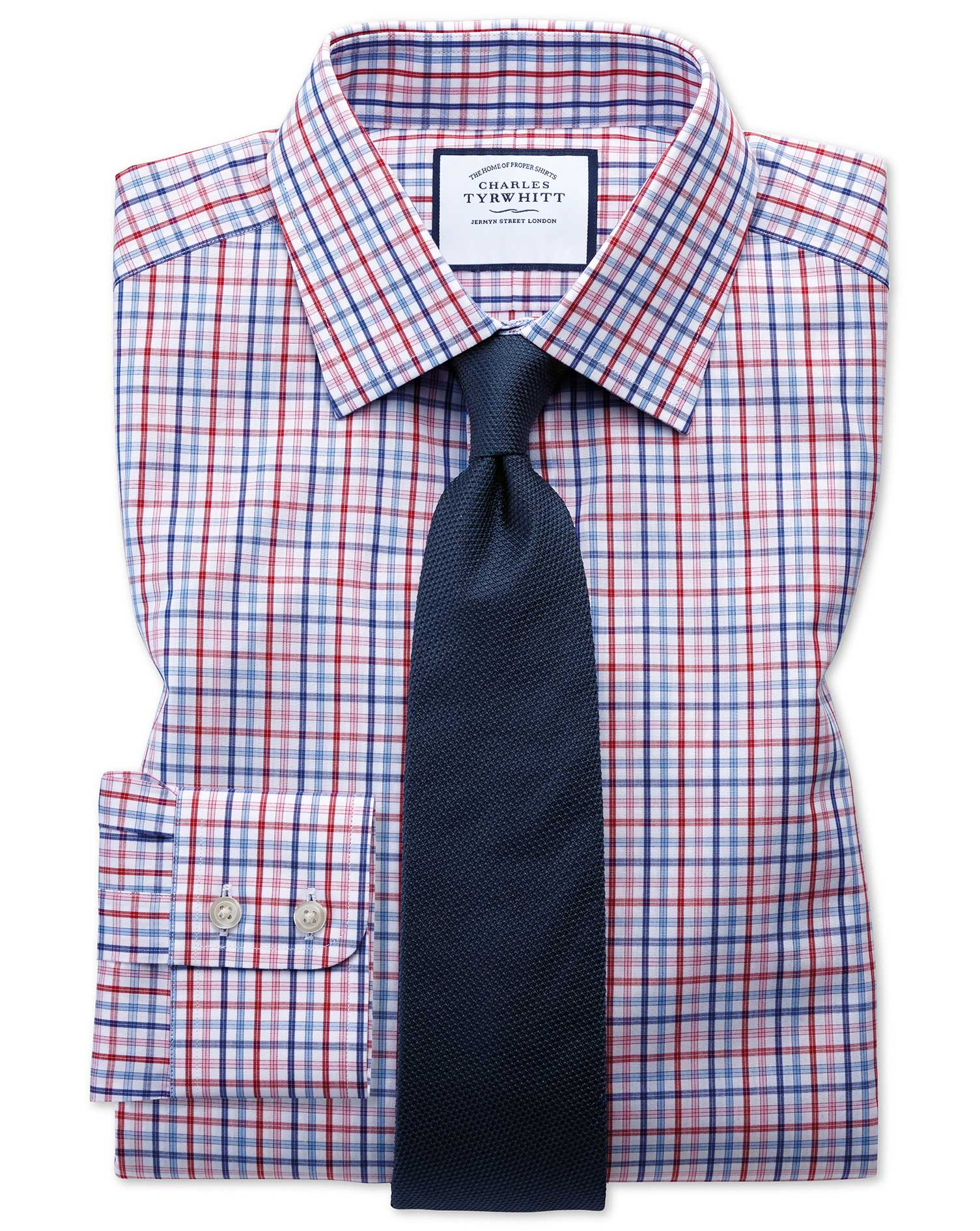 Classic Fit Poplin Multi Red Check Cotton Formal Shirt Single Cuff Size 16/36 by Charles Tyrwhitt