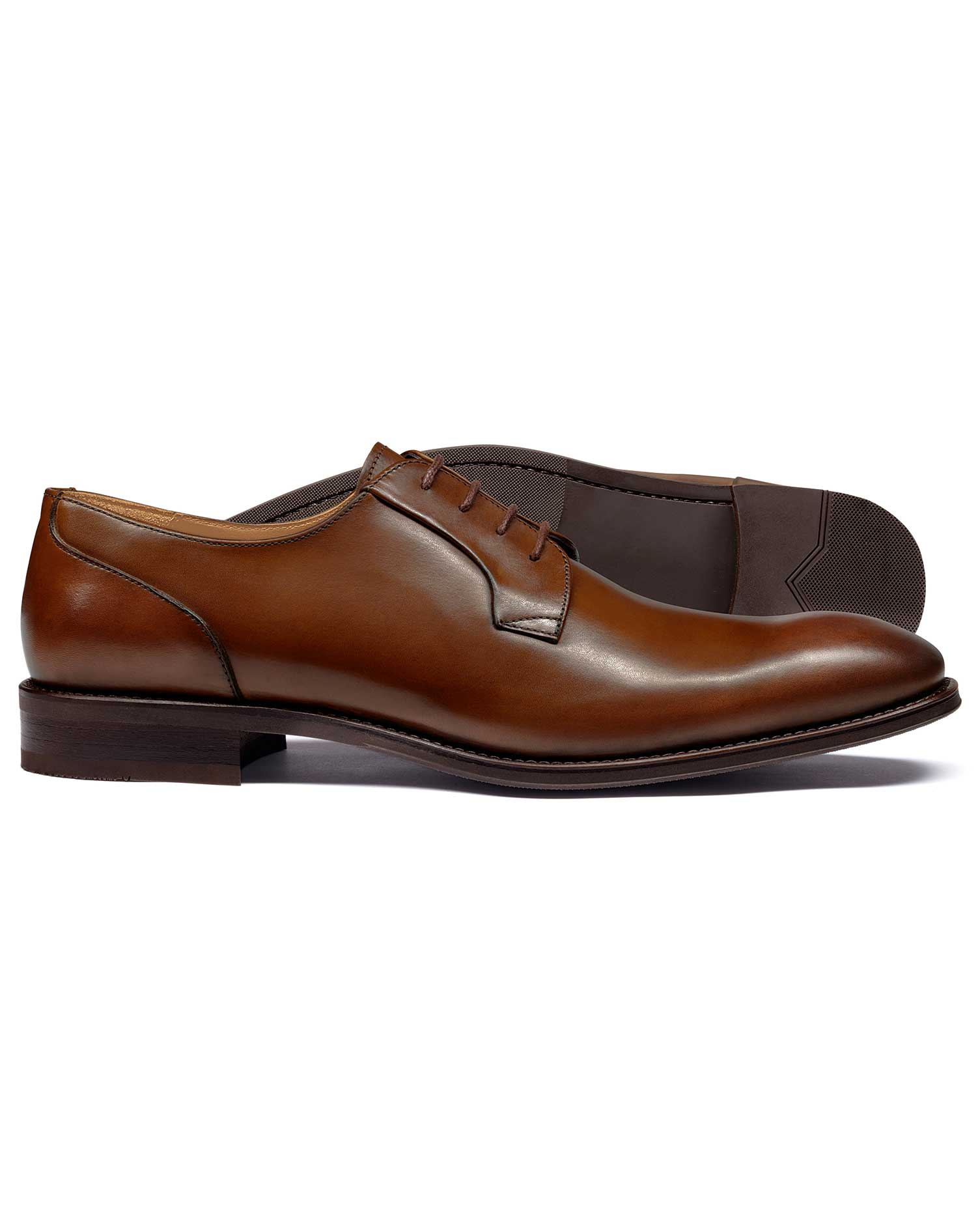 Tan Derby Shoes Size 7.5 R by Charles Tyrwhitt
