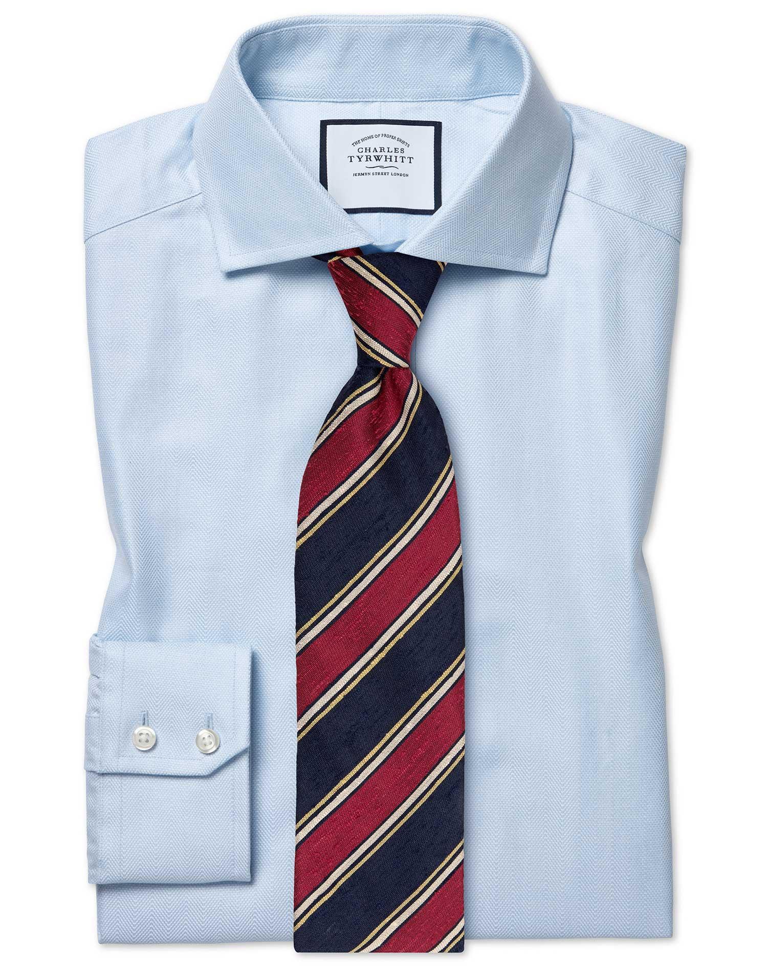 Extra Slim Fit Cutaway Cotton Stretch With Tencel™ Blue Cotton Tencel Formal Shirt Single Cuff