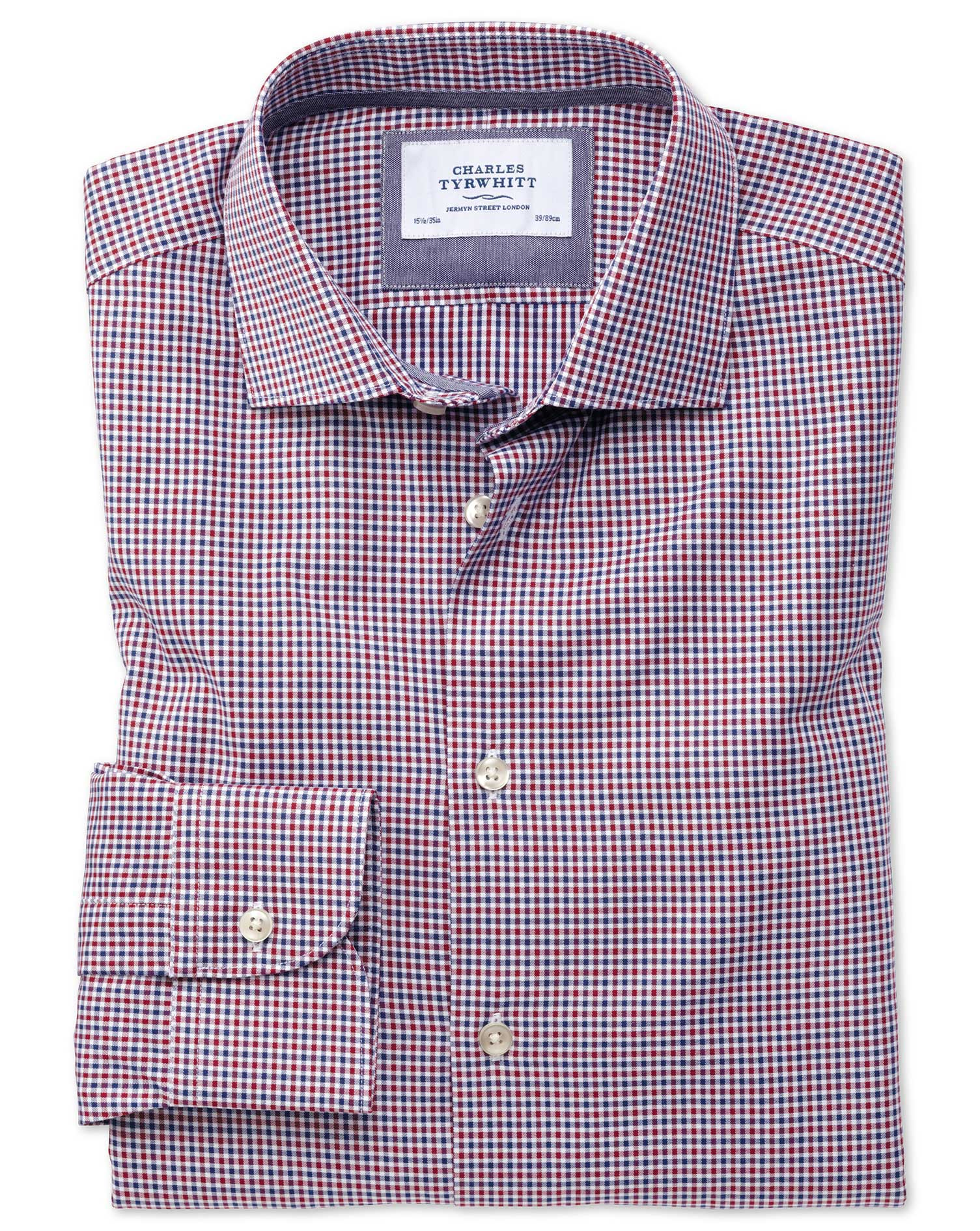 Slim Fit Semi-Cutaway Business Casual Gingham Red and Navy Cotton Formal Shirt Single Cuff Size 16.5