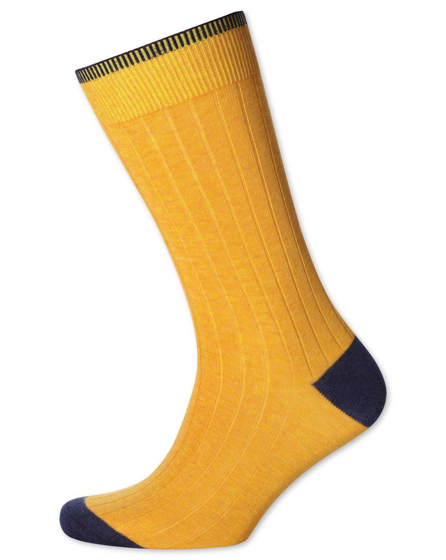 Yellow Cotton Rib Socks Size Medium by Charles Tyrwhitt