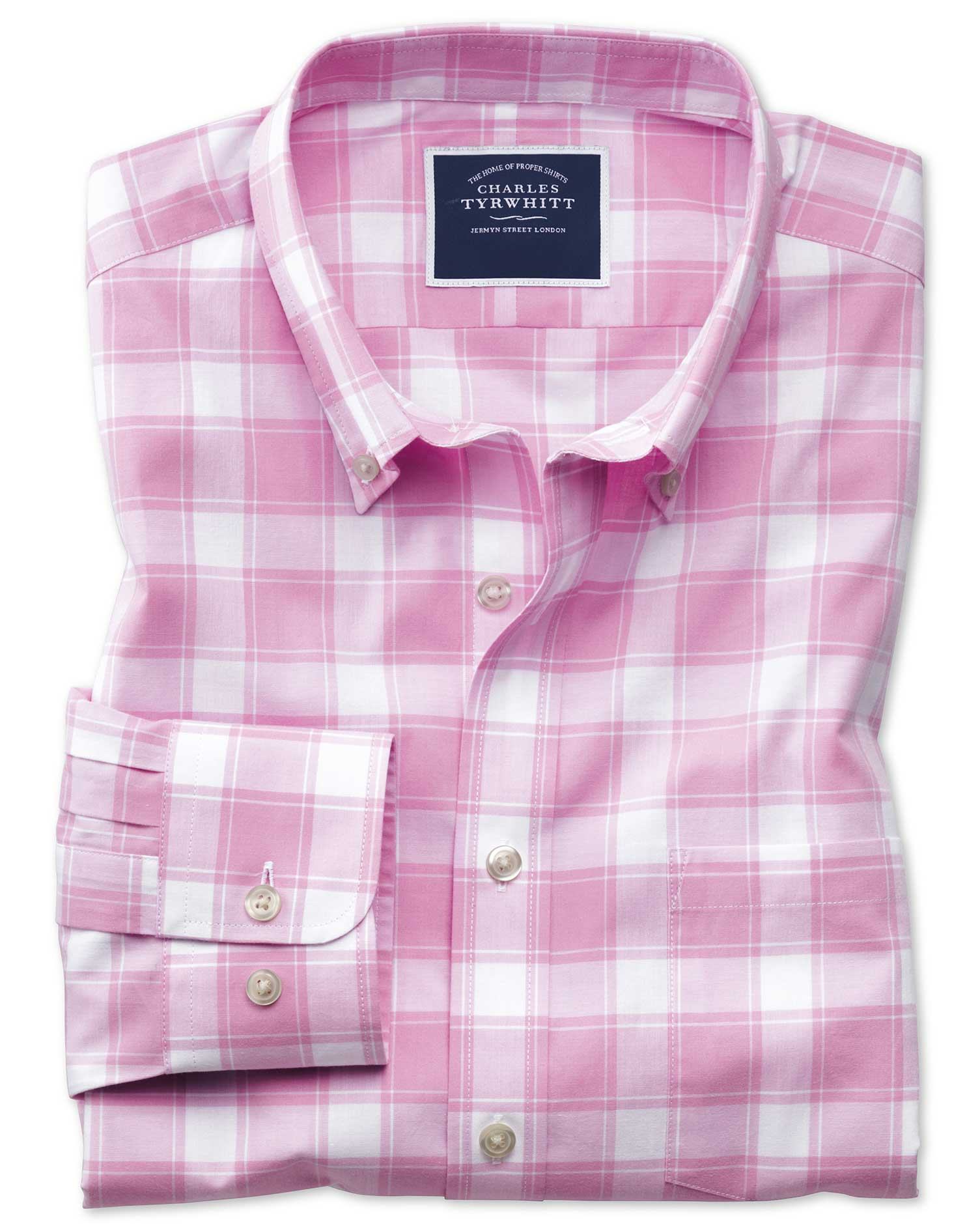 Classic Fit Button-Down Non-Iron Poplin Pink and White Check Cotton Shirt Single Cuff Size Medium by