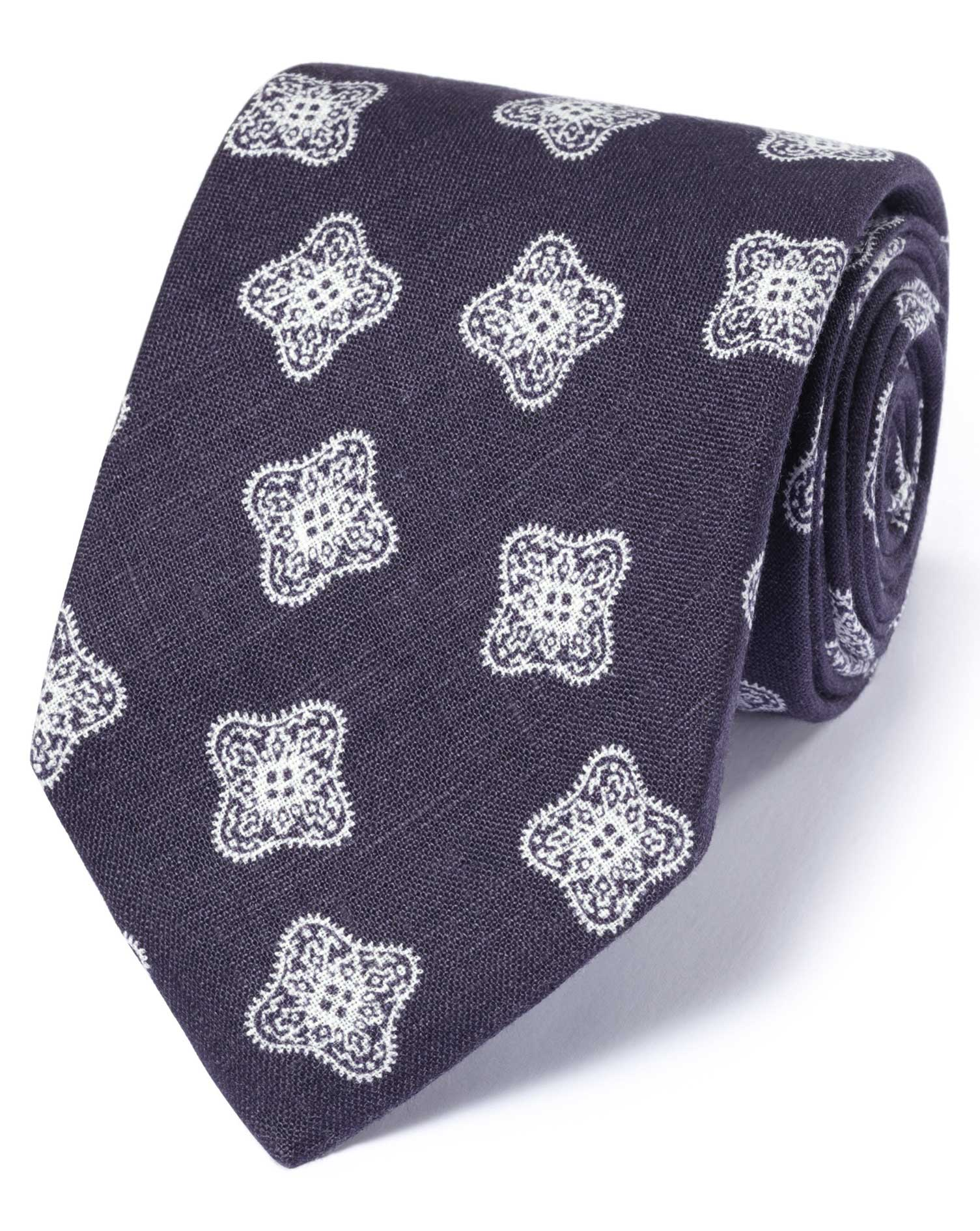 cravate de luxe bleu marine m daillon en lin anglais charles tyrwhitt. Black Bedroom Furniture Sets. Home Design Ideas