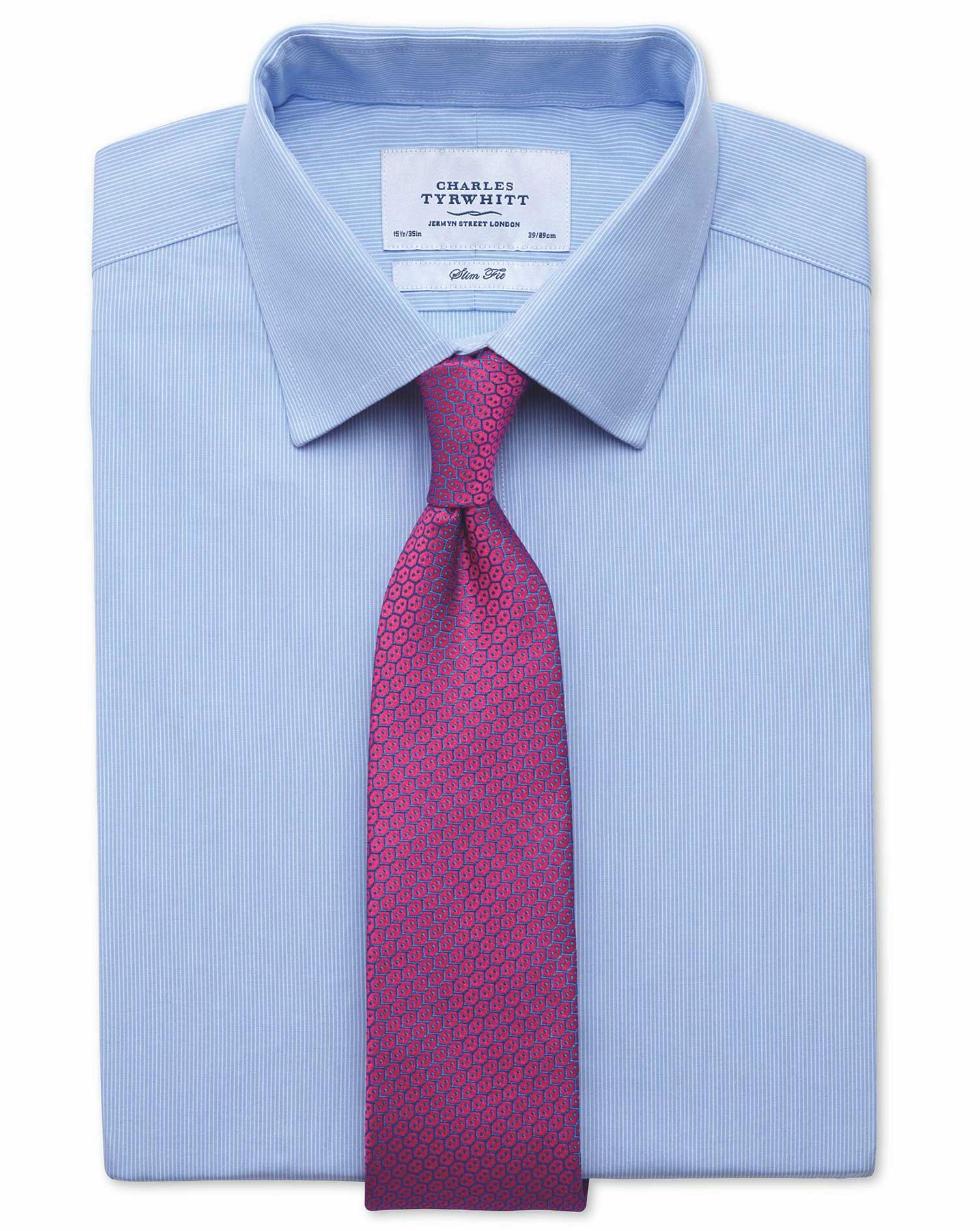 Slim Fit Fine Stripe Sky Blue Cotton Formal Shirt Double Cuff Size 15/35 by Charles Tyrwhitt