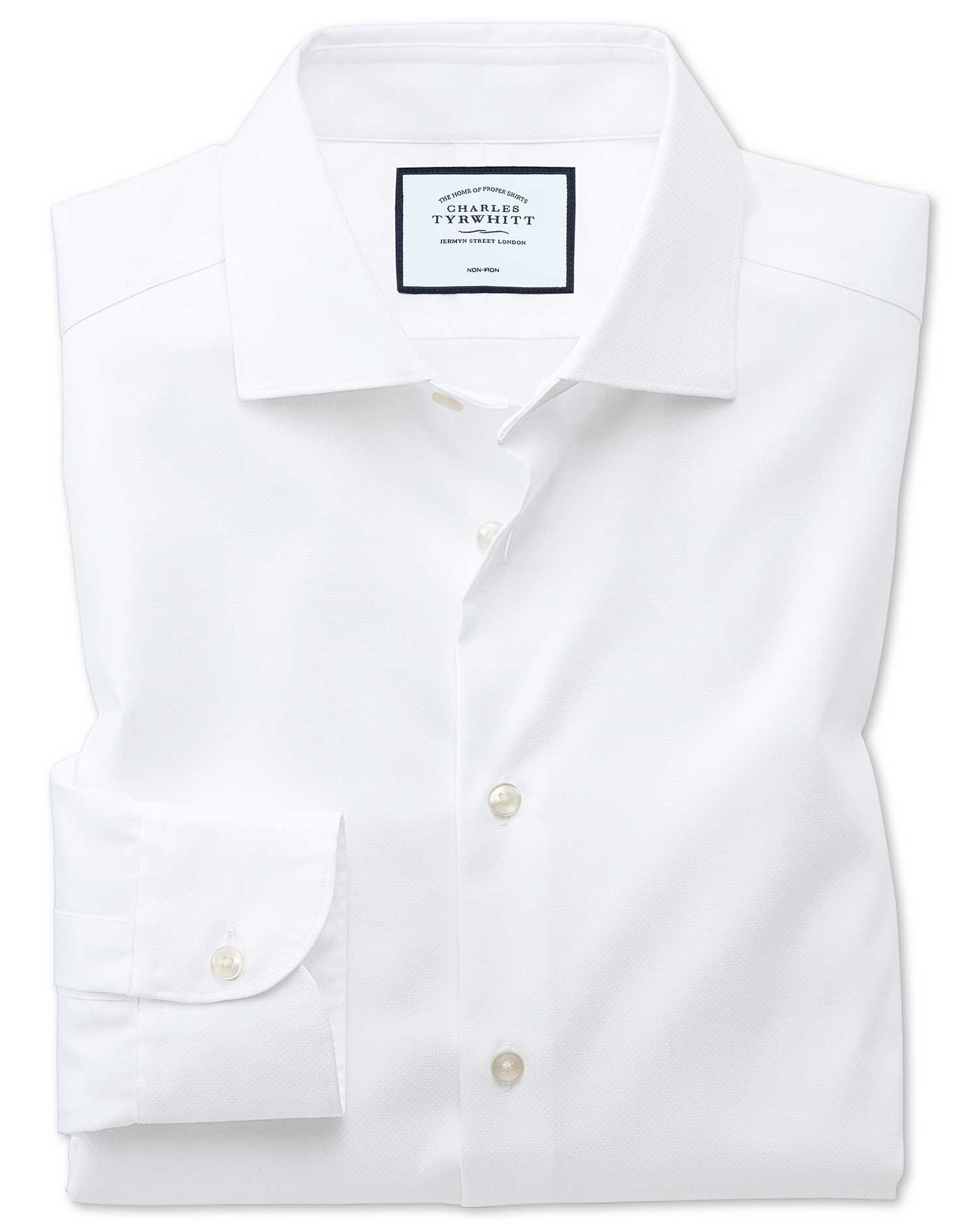 Slim Fit Business Casual Non-Iron Modern Textures White Cotton Formal Shirt Single Cuff Size 15/34 b