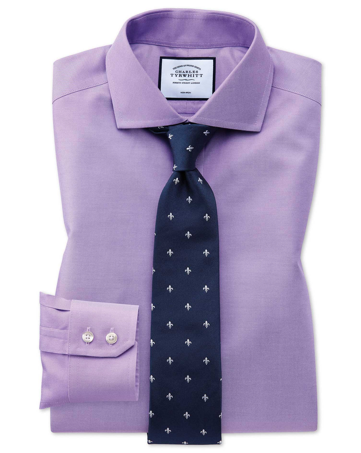 Extra Slim Fit Lilac Non-Iron Twill Cutaway Collar Cotton Formal Shirt Single Cuff Size 16.5/34 by C