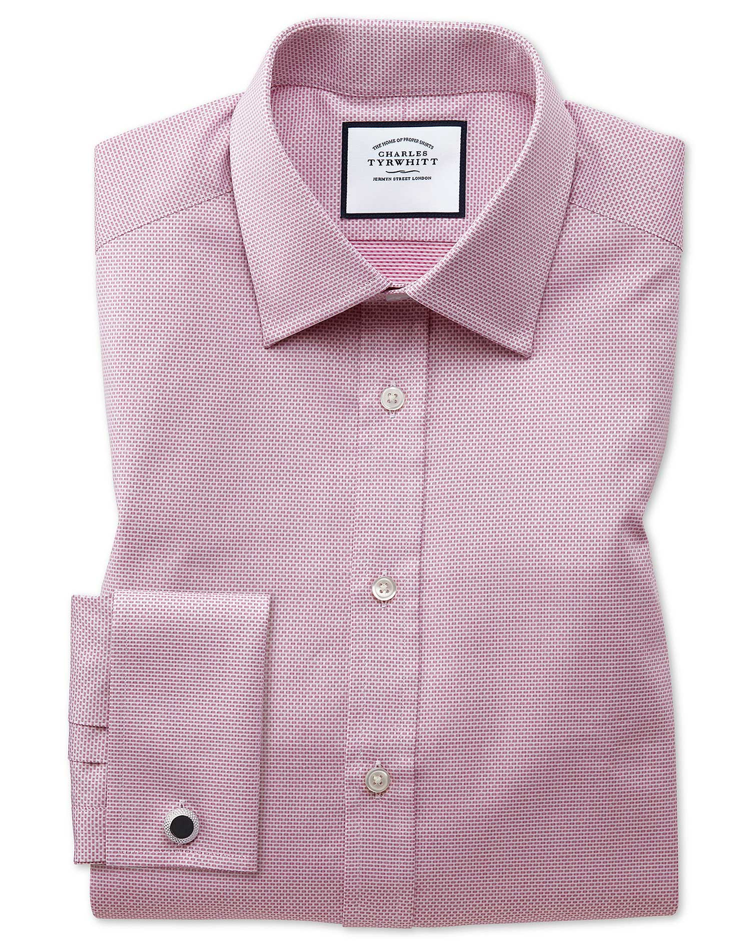 Extra Slim Fit Magenta Cube Weave Egyptian Cotton Formal Shirt Double Cuff Size 15/33 by Charles Tyr