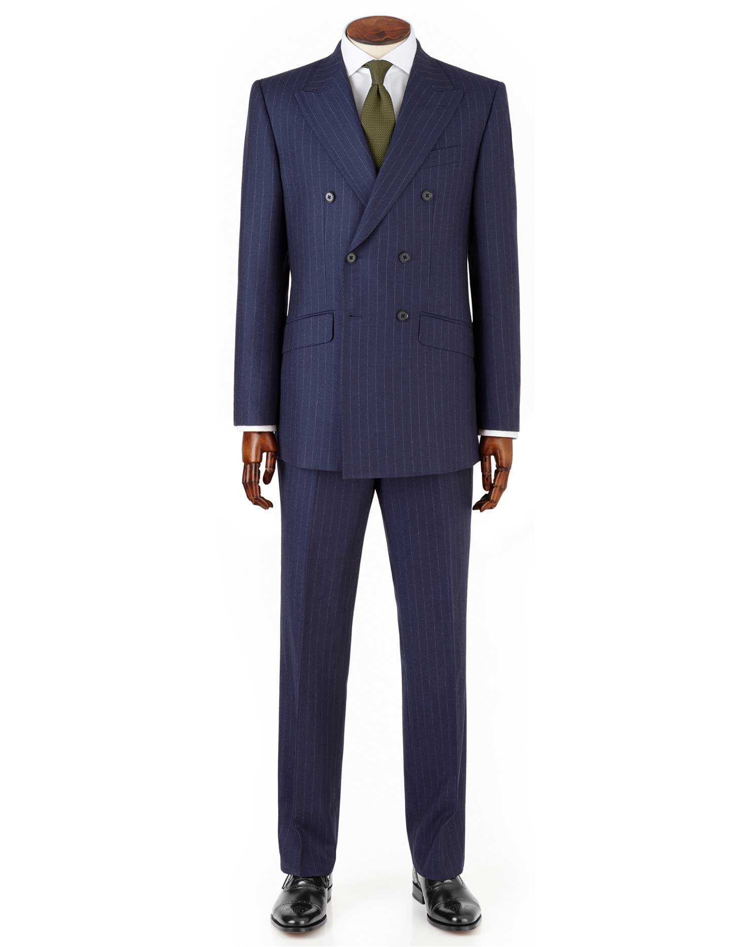 Navy Stripe Slim Fit Saxony Double Breasted Business Suit Wool Jacket Size 40 Regular by Charles Tyr