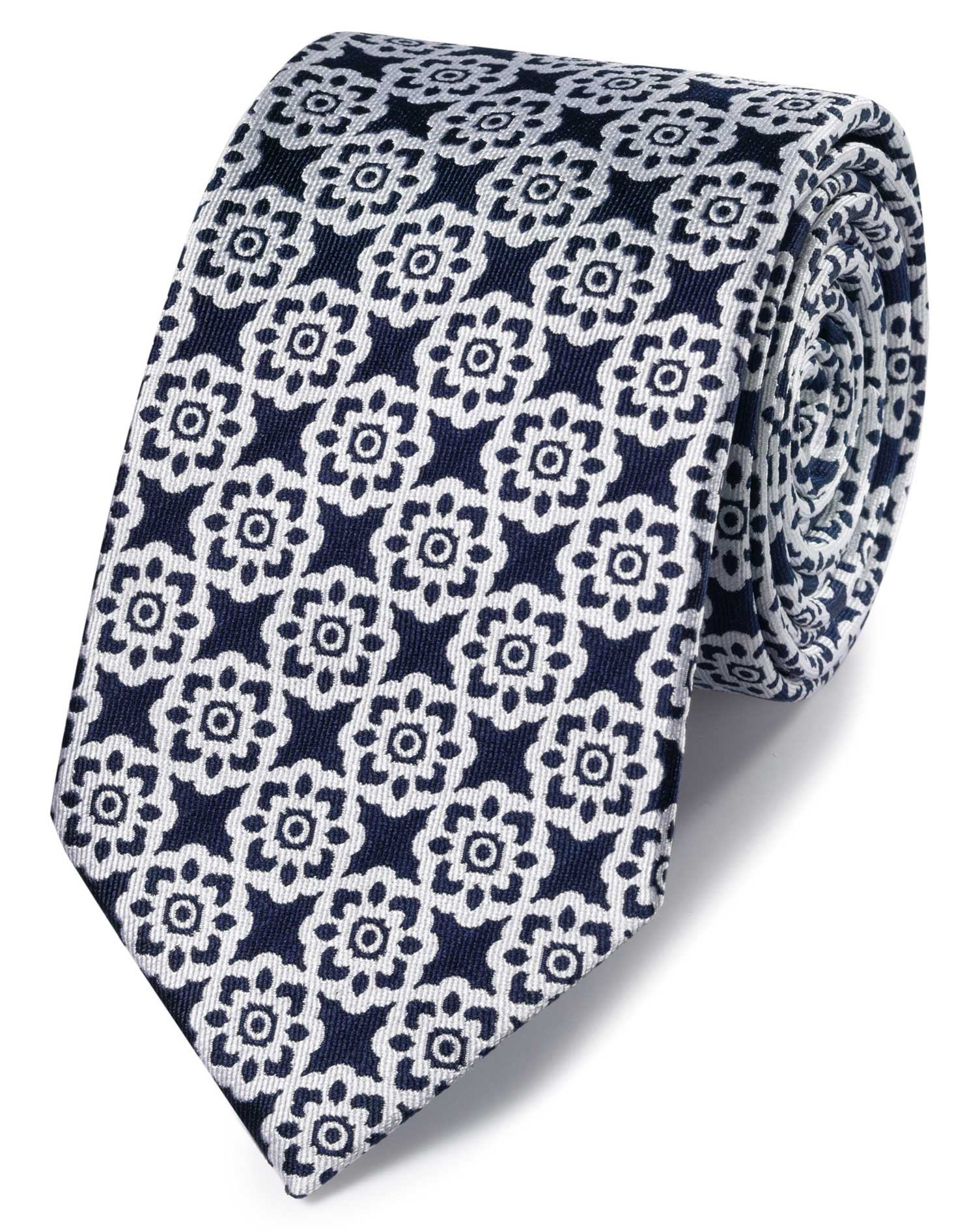Navy and White Floral Classic Silk Tie Size OSFA by Charles Tyrwhitt