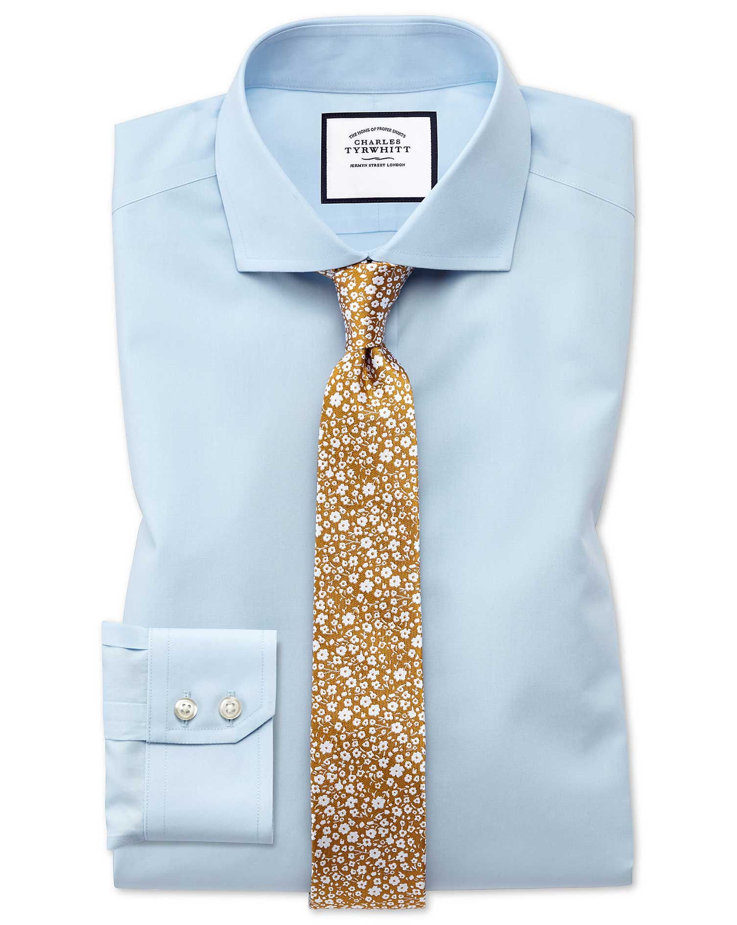 Classic Fit Cutaway Non-Iron Natural Cool Sky Blue Cotton Formal Shirt Single Cuff Size 16/33 by Cha