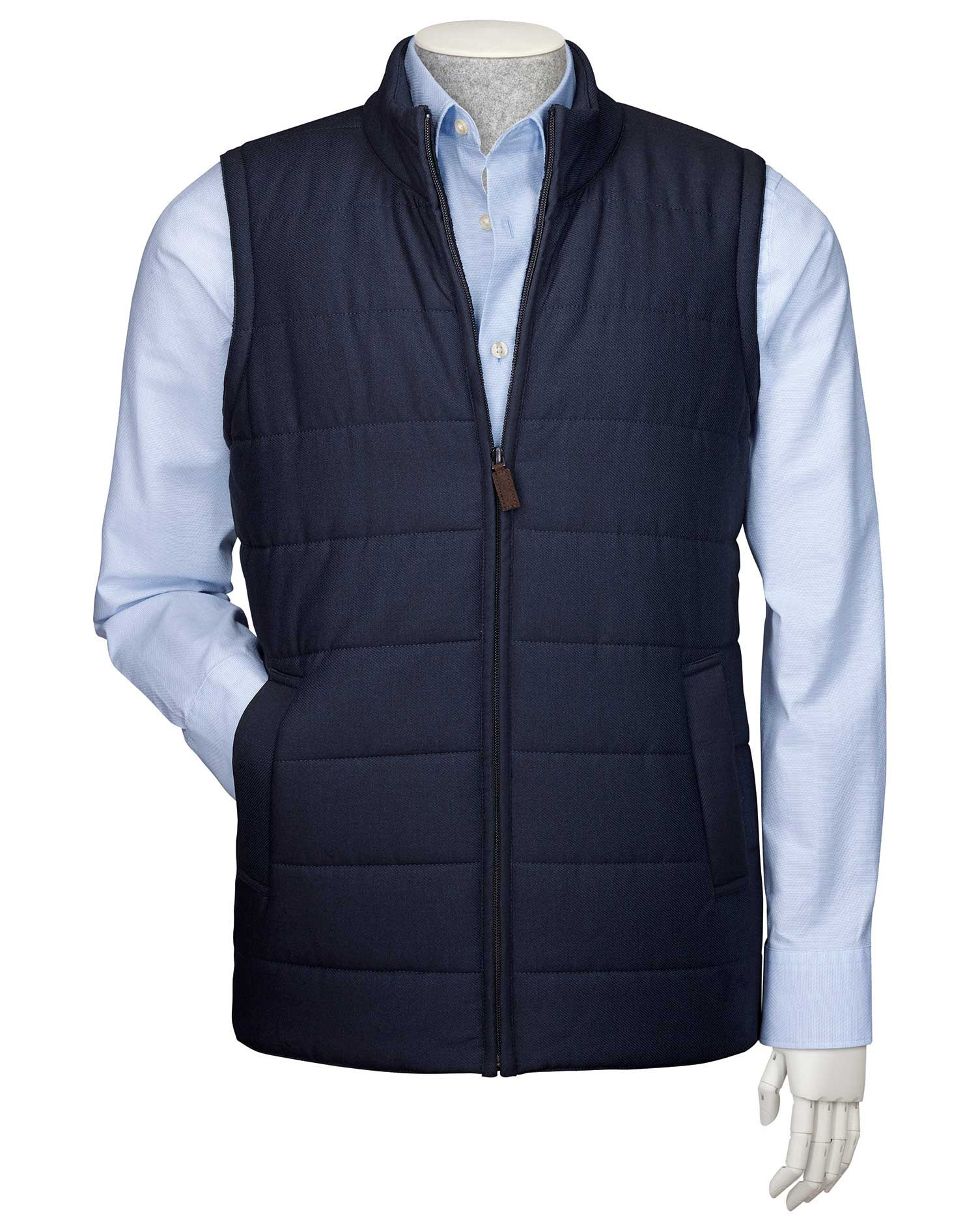 Navy Knit Back Gilet Wool Jacket Size Small by Charles Tyrwhitt