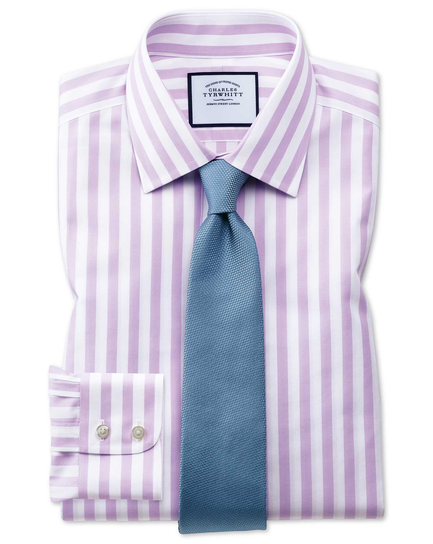 Extra Slim Fit Non-Iron Purple Wide Bengal Stripe Cotton Formal Shirt Single Cuff Size 17/37 by Char