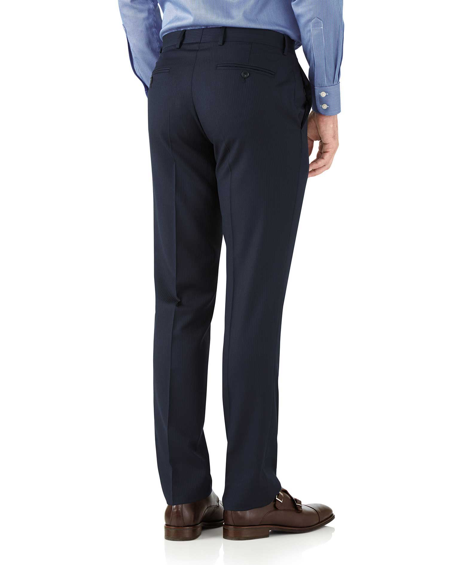 Navy classic fit herringbone Italian suit pants