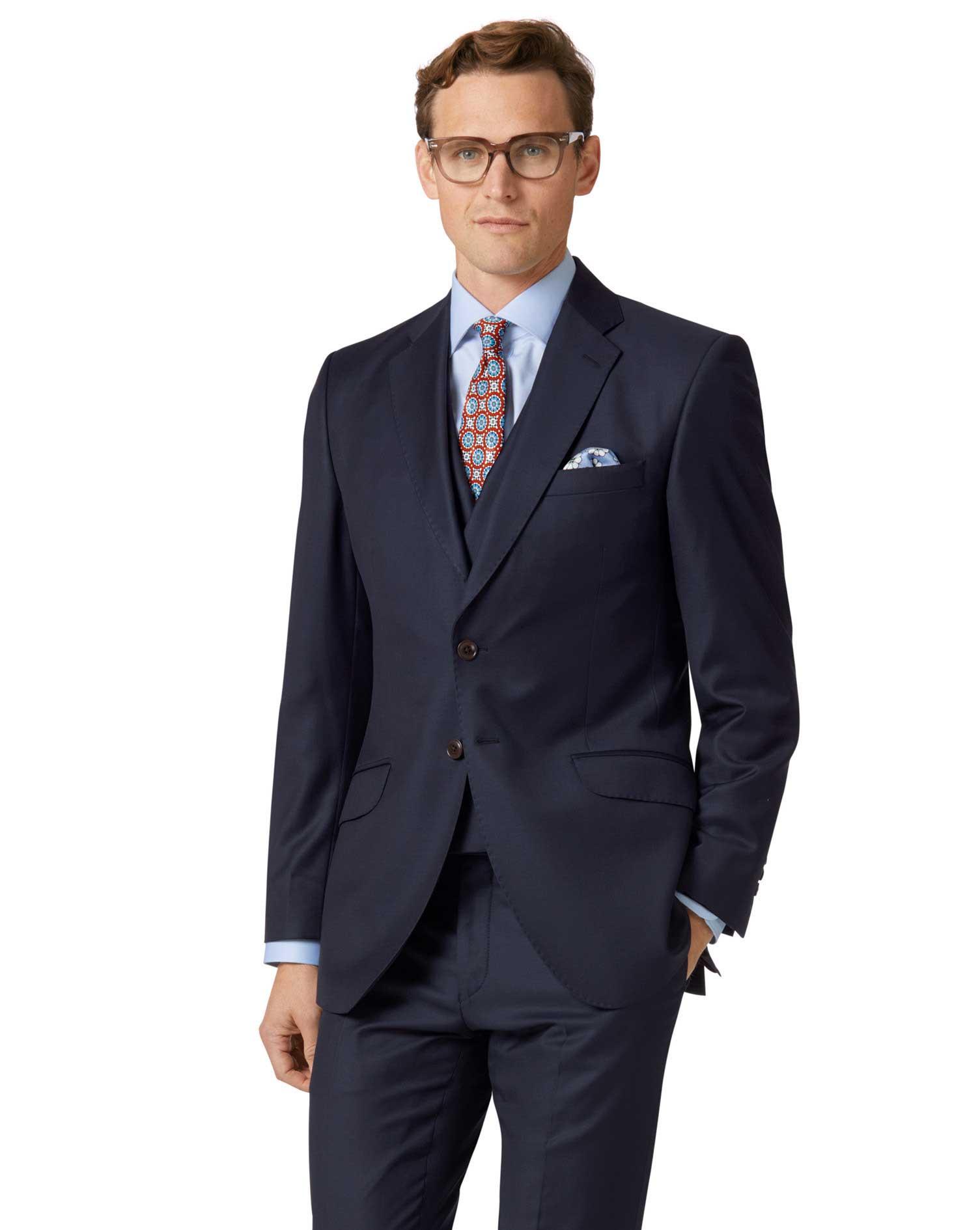 Navy Slim Fit Italian Twill Luxury Suit Wool Jacket Size 36 Regular by Charles Tyrwhitt